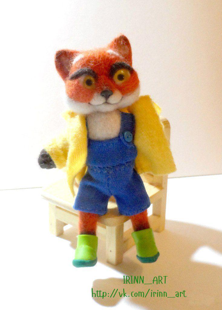 рыжий лисенок игрушка ручная лиса милый работа подарок