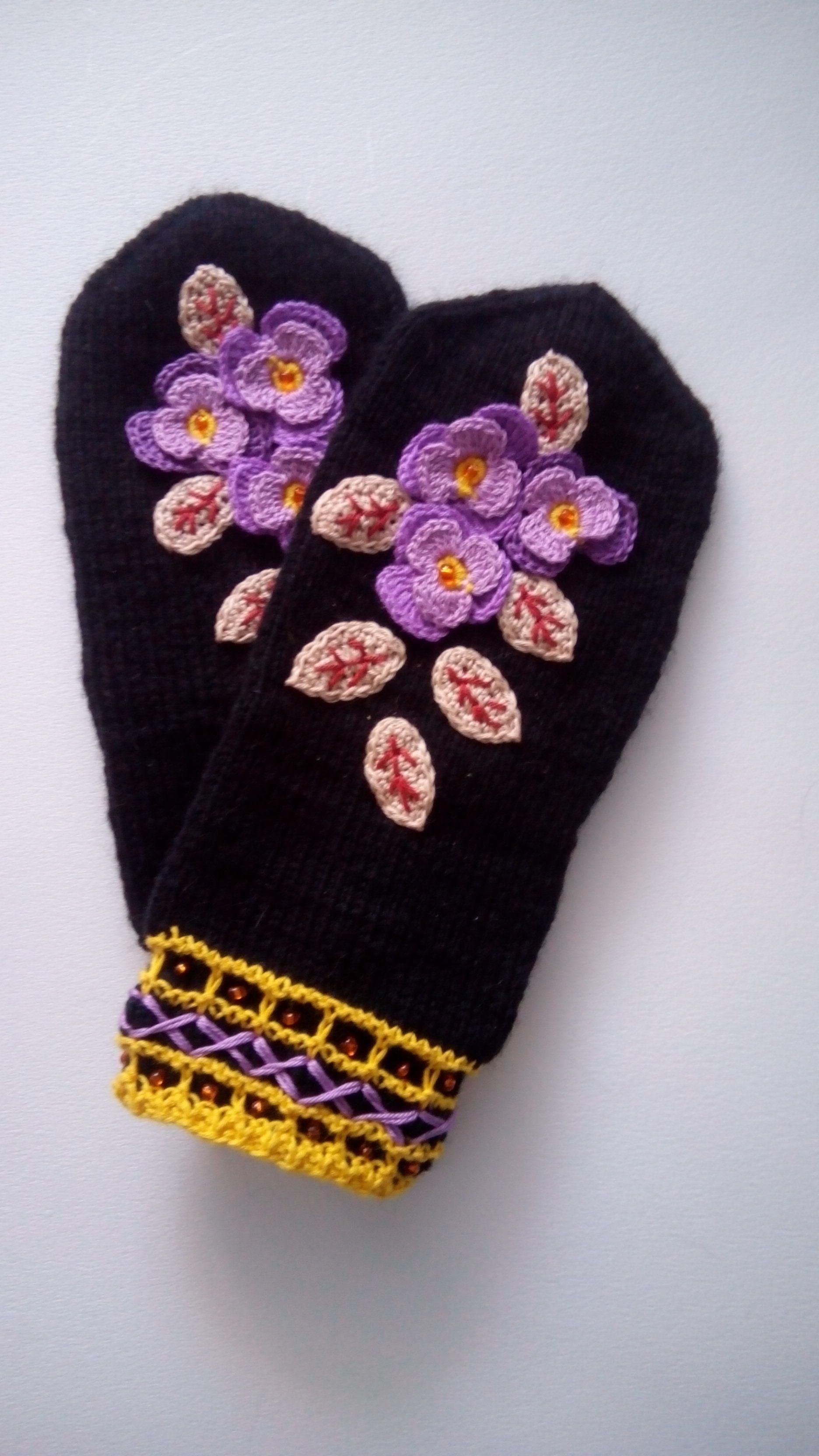 спицами варежки теплые зима вязание подарок женщине