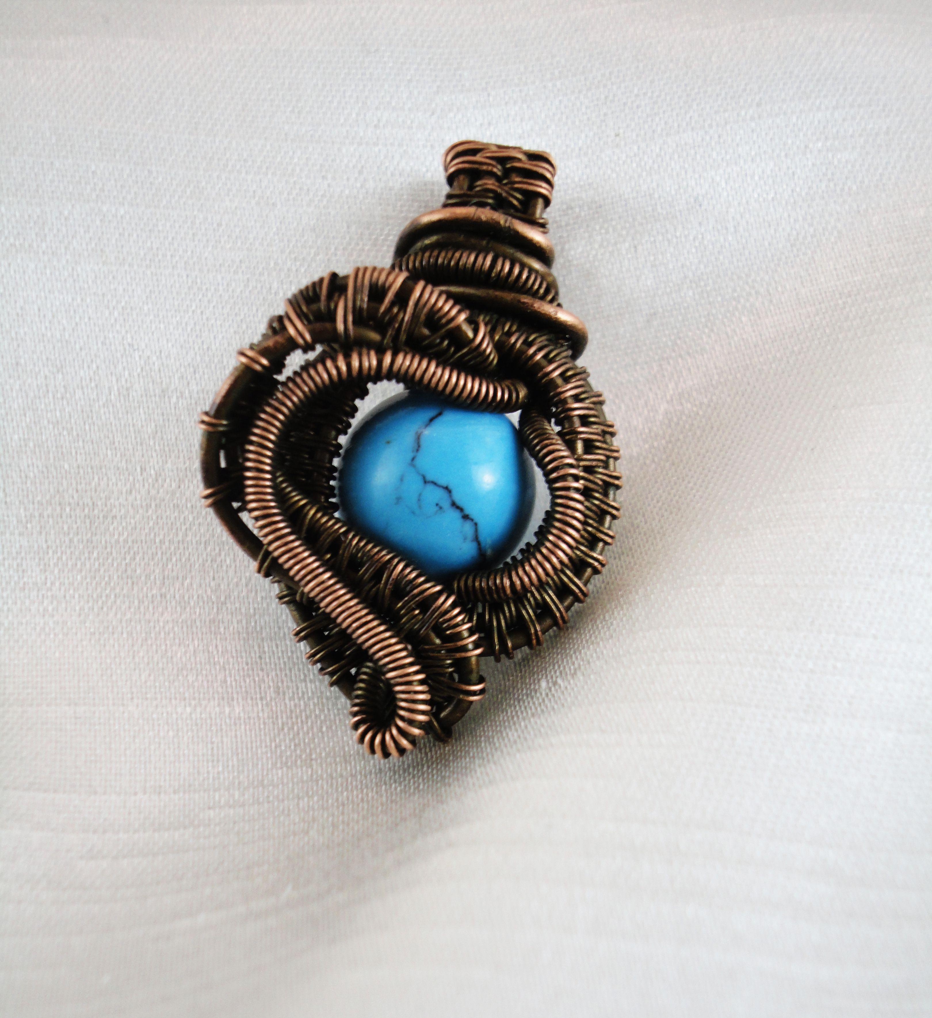 изделие кулон wire wrape handmade ручной работы медь бижутерия