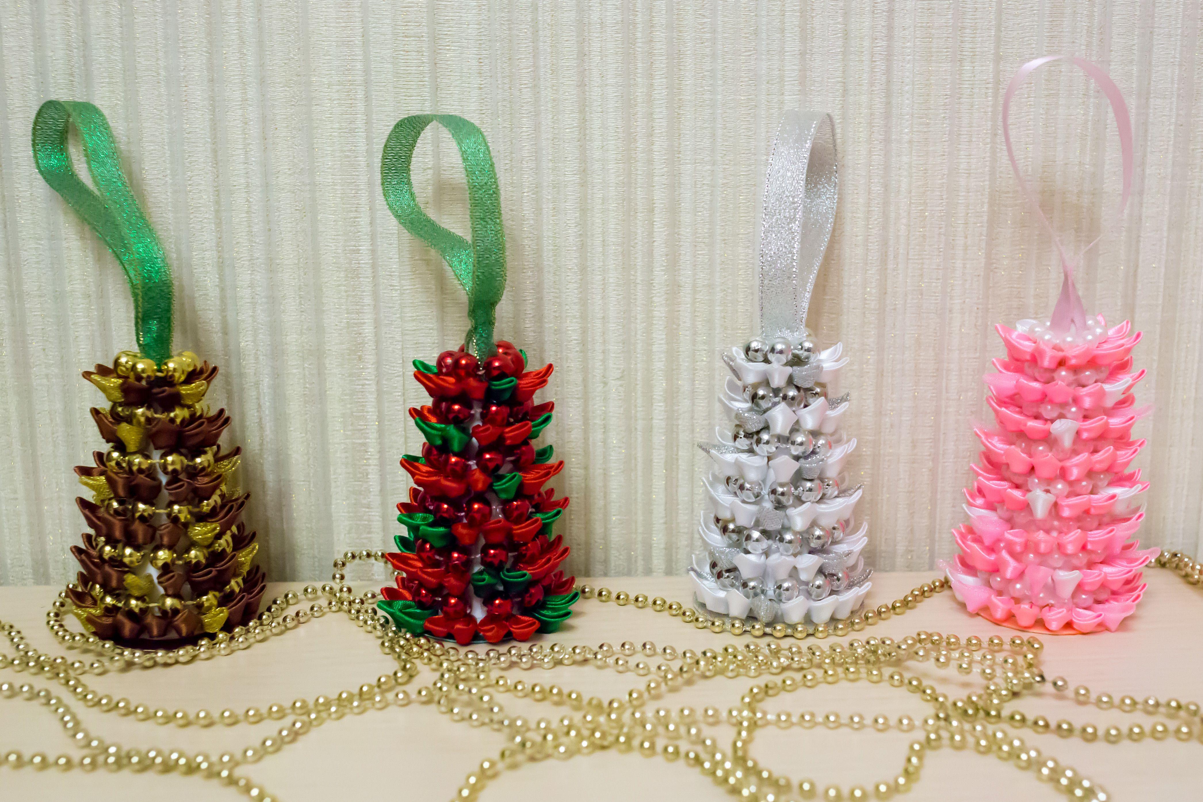 хэнд-мейд елочка ленты декор праздник бусинки творчество подарок красивые