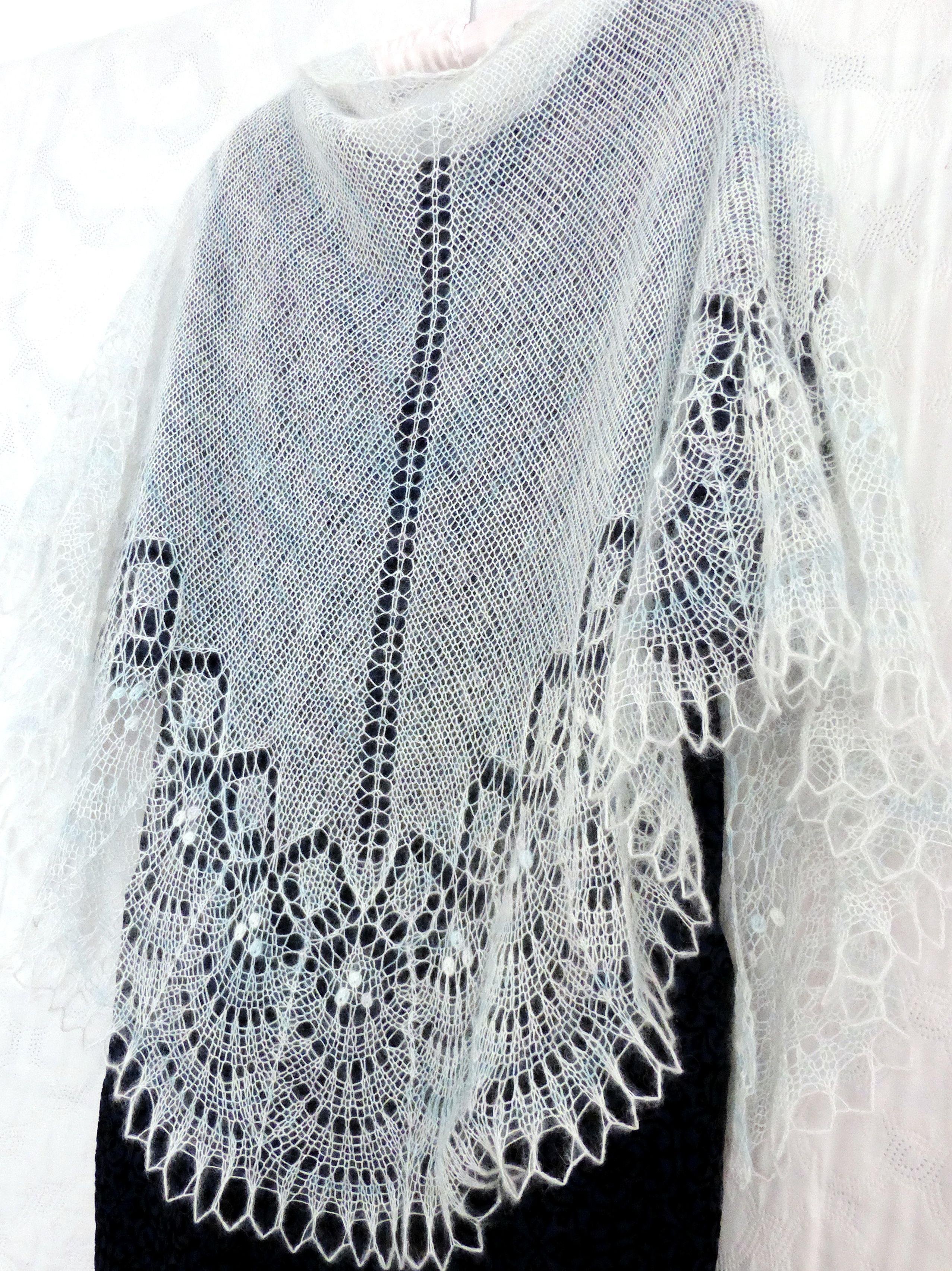 шальажурная пуховыйплаток аксессуар вязаная шарф вязание белый палантин ажурная шаль свадьба ажур шерсть бохо подарок