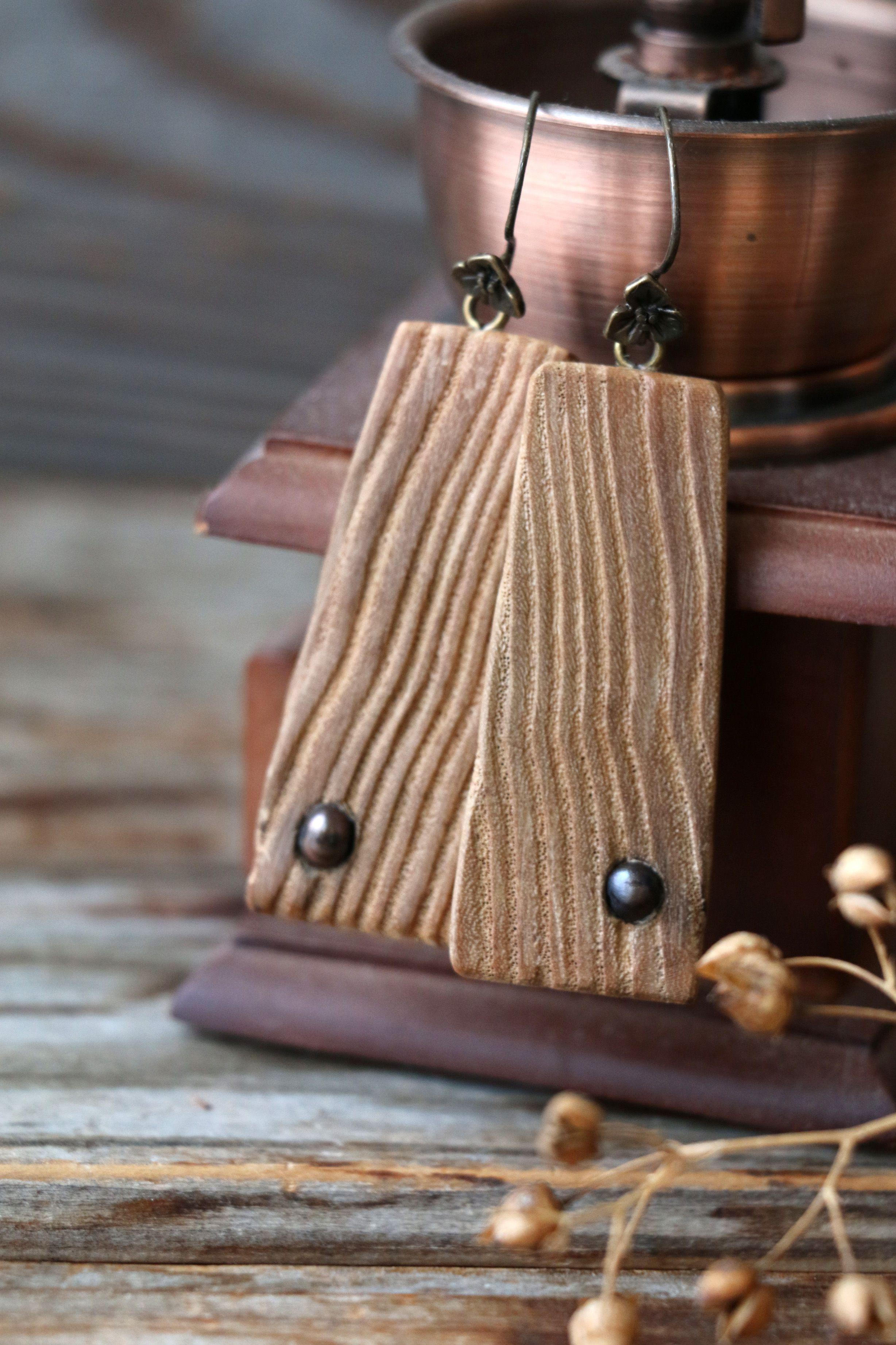 волнистая фактура бохо серьги жемчуг цвет украшение черный дерева деревянные крупные авторские шоколада молочного структура
