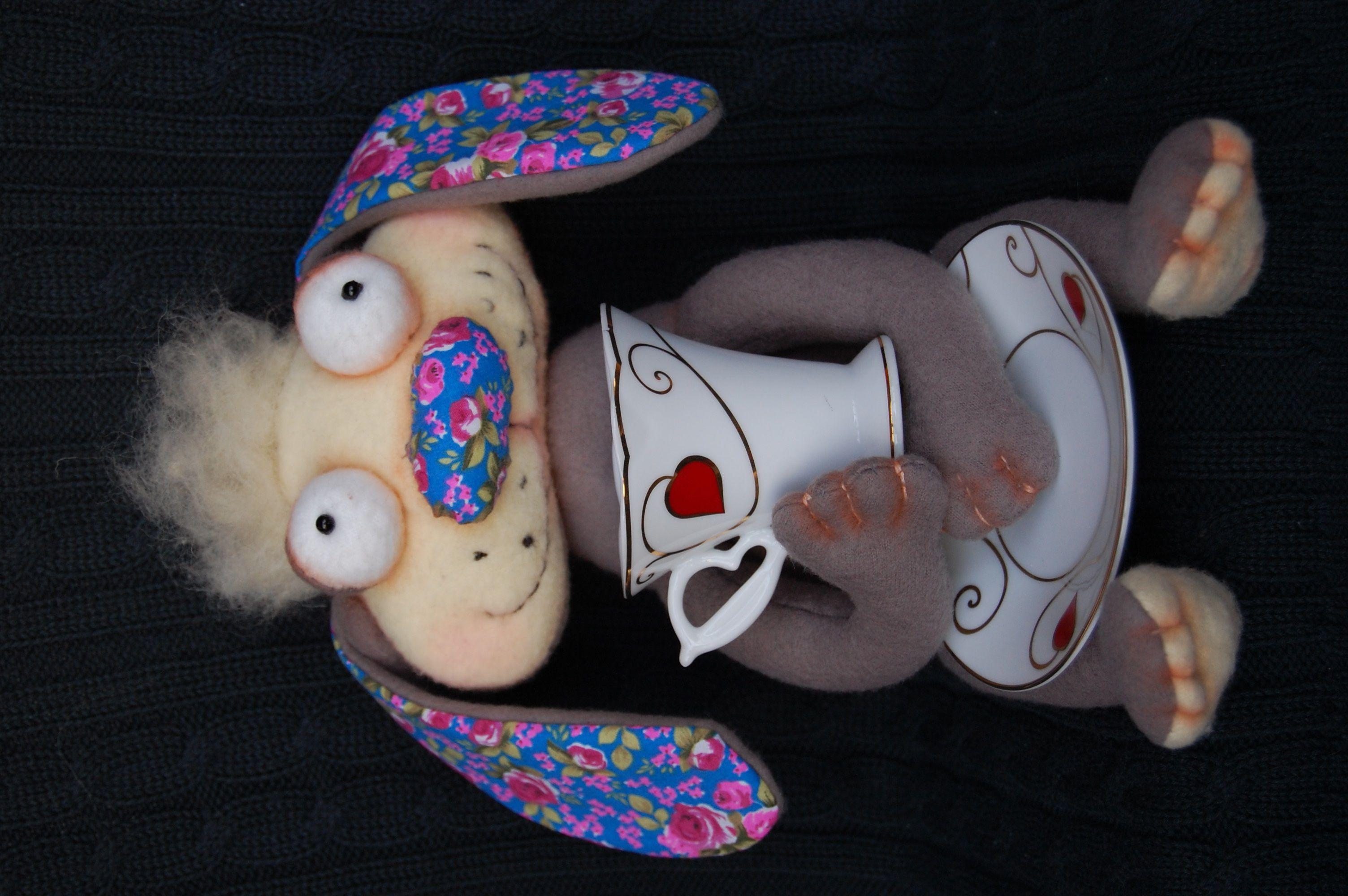 кролик позитив чаепитие игрушка ручная авторская работа подарок
