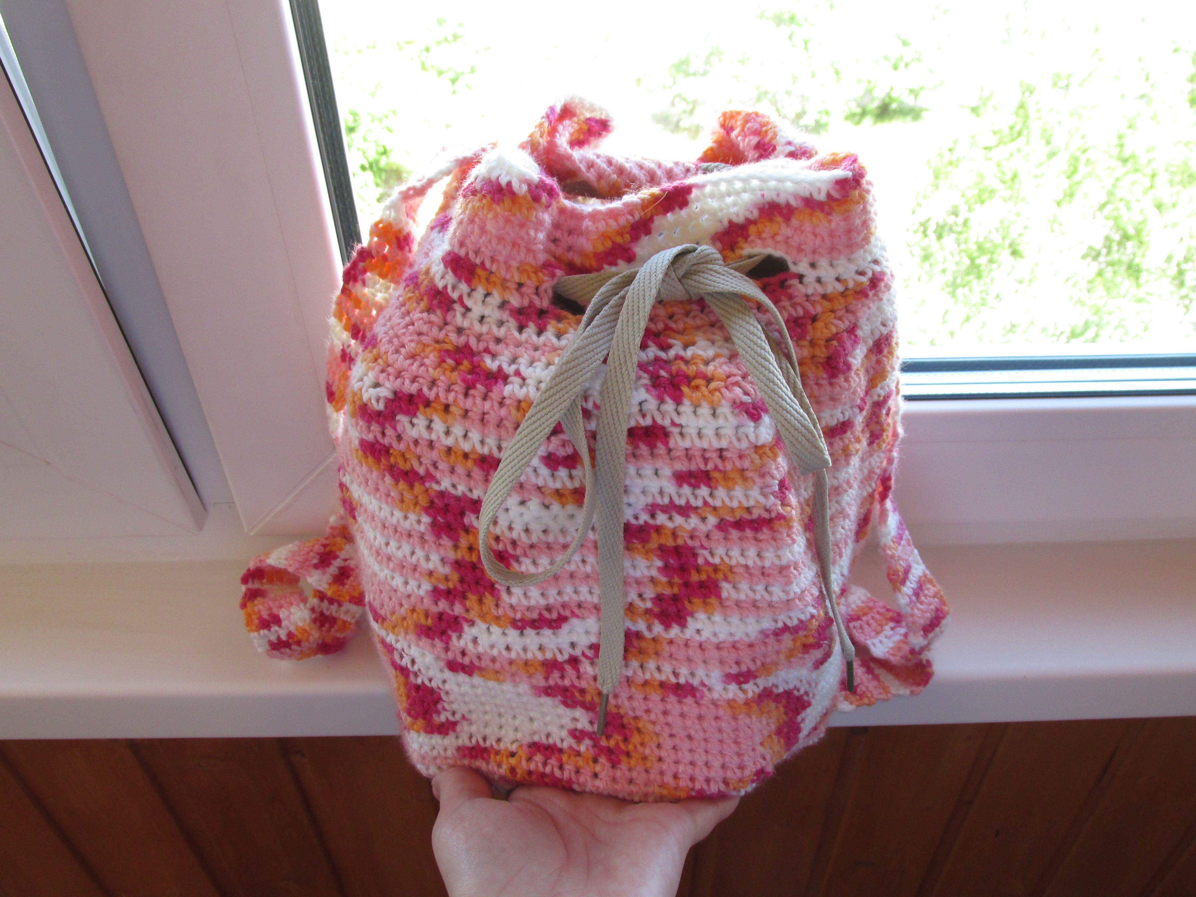 шнурок подростки зелёный женщины акрил ручная вязание крючок заказ шерсть рюкзак розовый дети