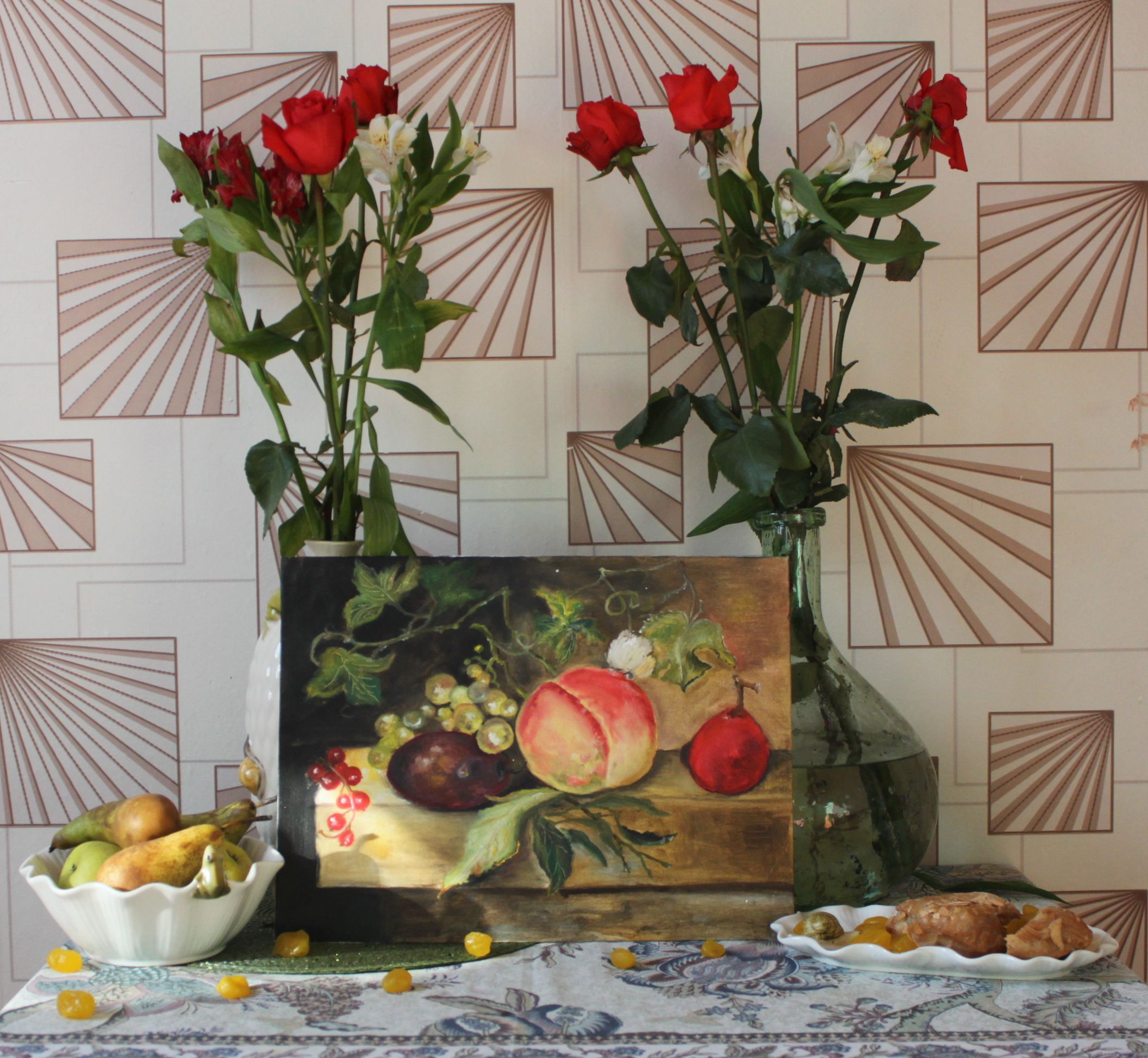 холст масло виноград персики фрукты натюрморт