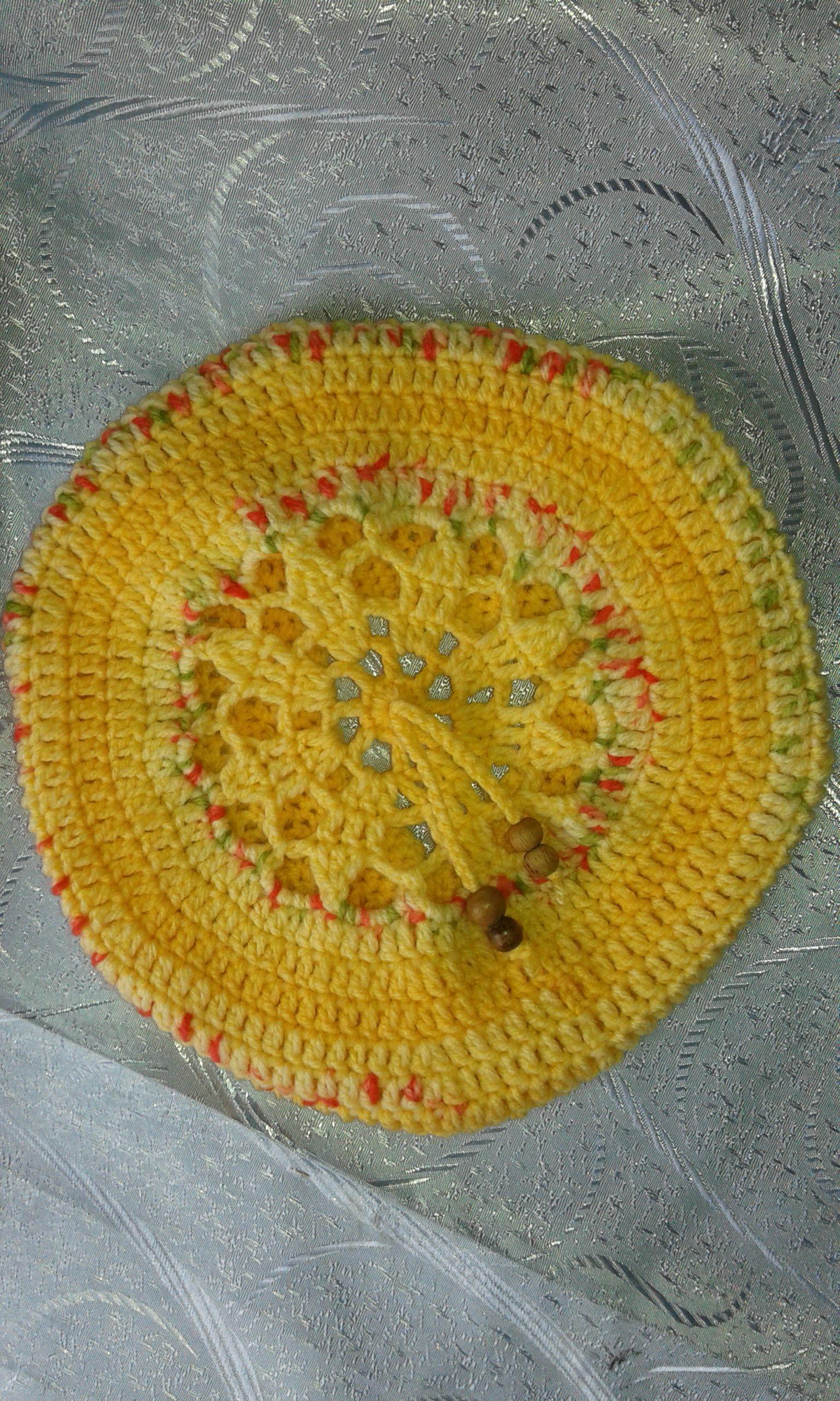 уборы головные берет весна желтый шапка бусины осень дети