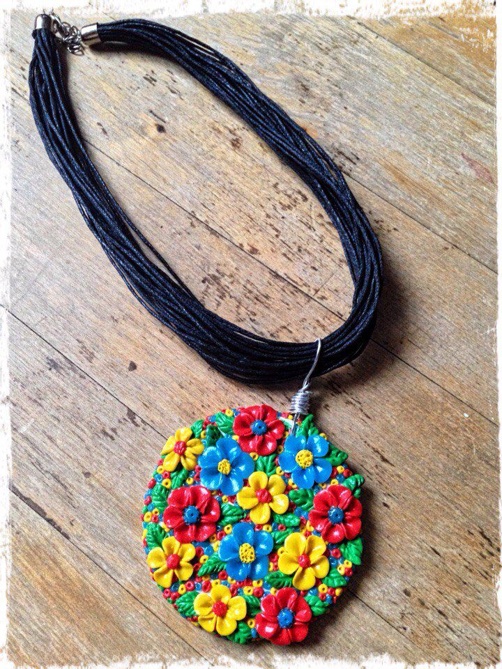 кулон полимерная глина подвеска полянка украшение цветы подарок