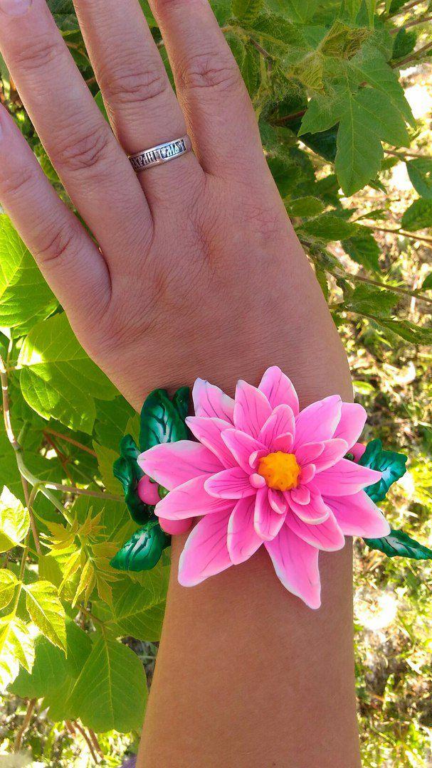 ручнаяработа красивыеплатья браслет серьги лотос розовый листики подарок