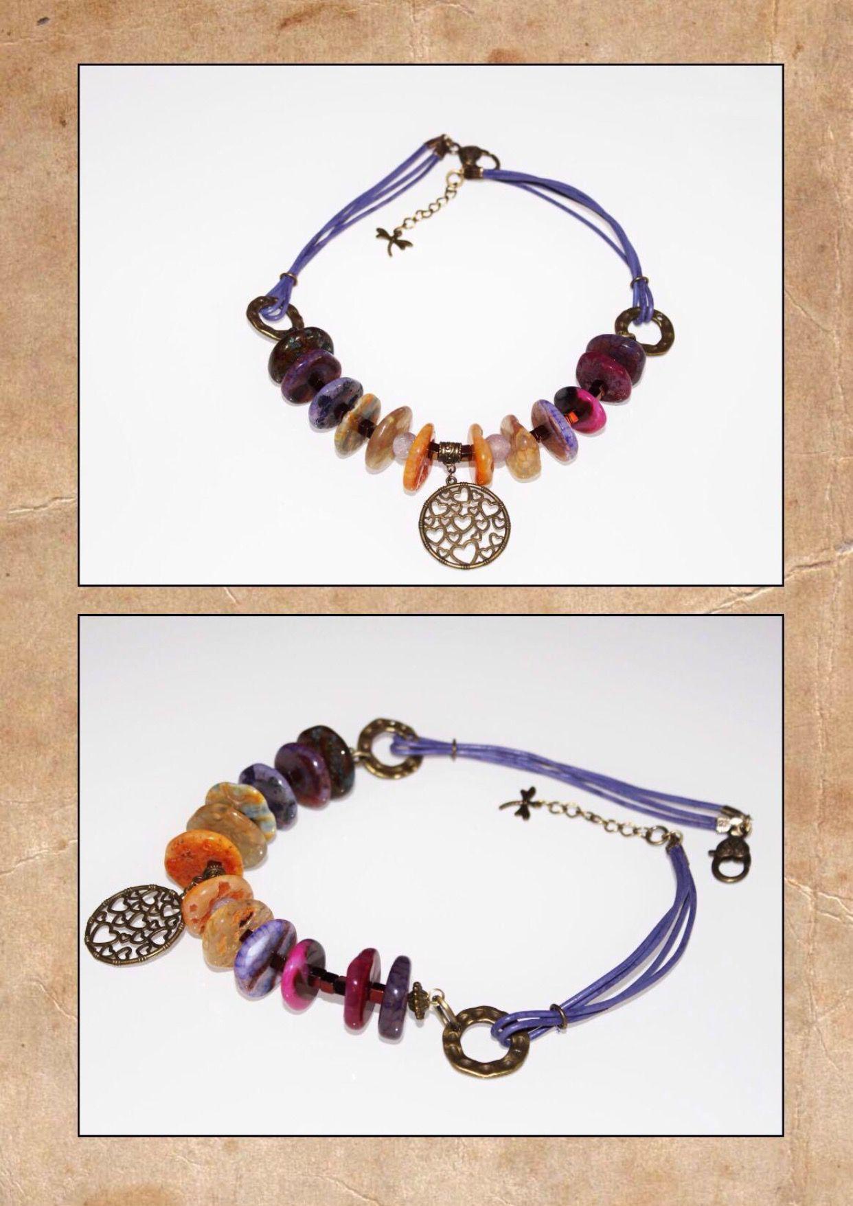 ручнаяработа кожа женщин агат стильно ярко для натуральныекамни handmade фиолетовый украшения подарки