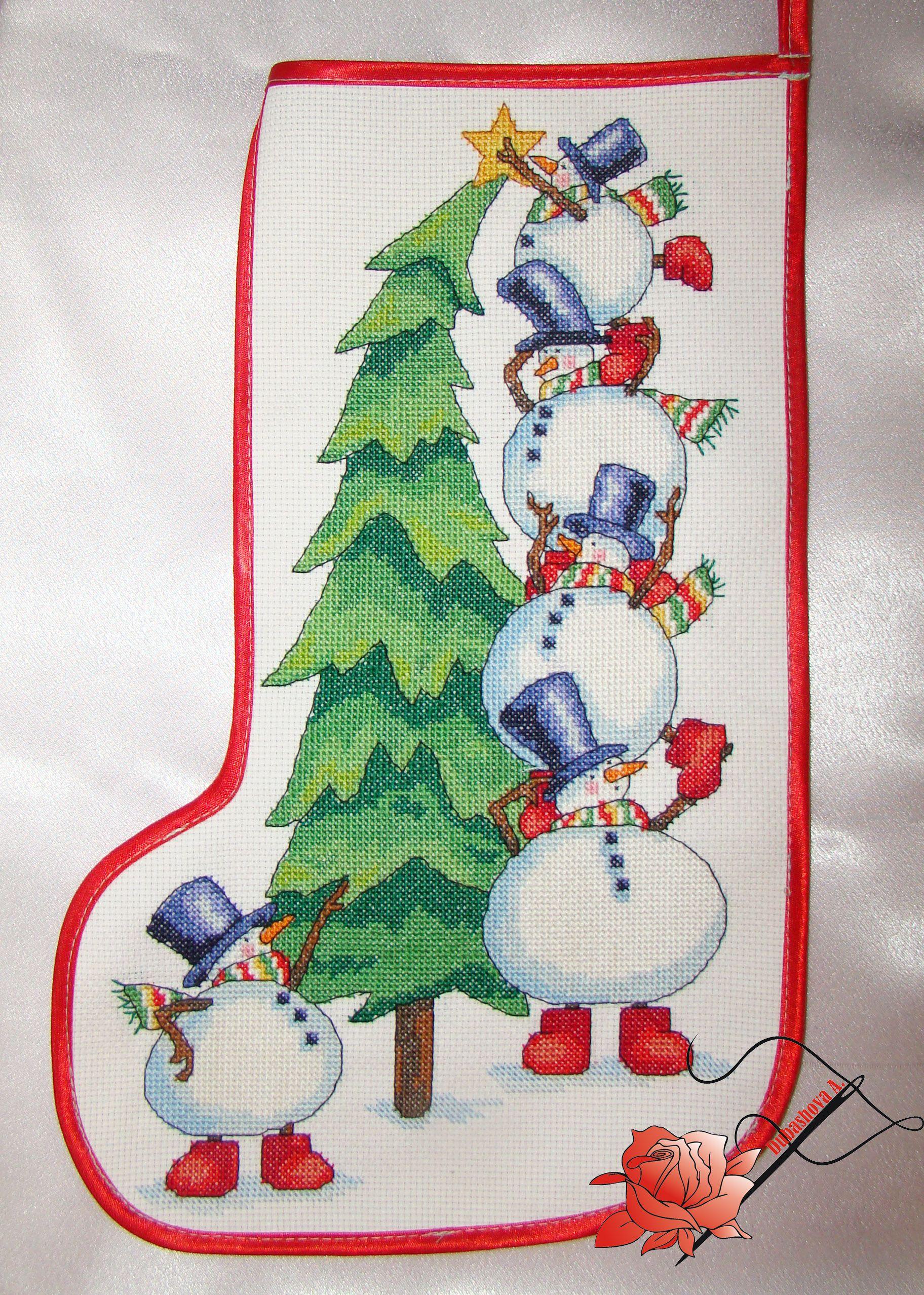 Вышивка для новогоднего сапожка 45