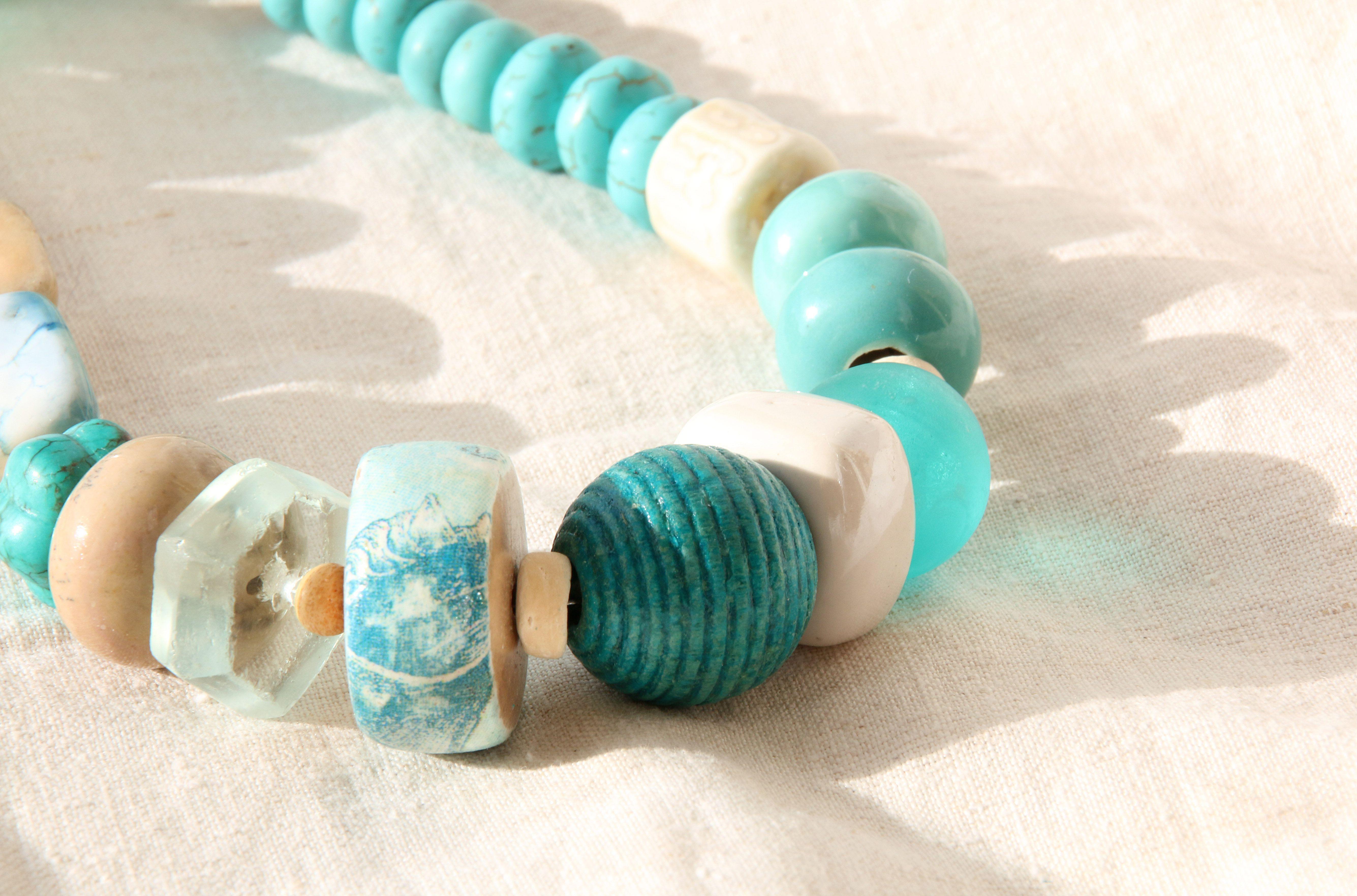 мятный бирюзовый волна бусы ионическое южный греция бохо морской песочный декупаж прозрачный украшения белый авторские морская