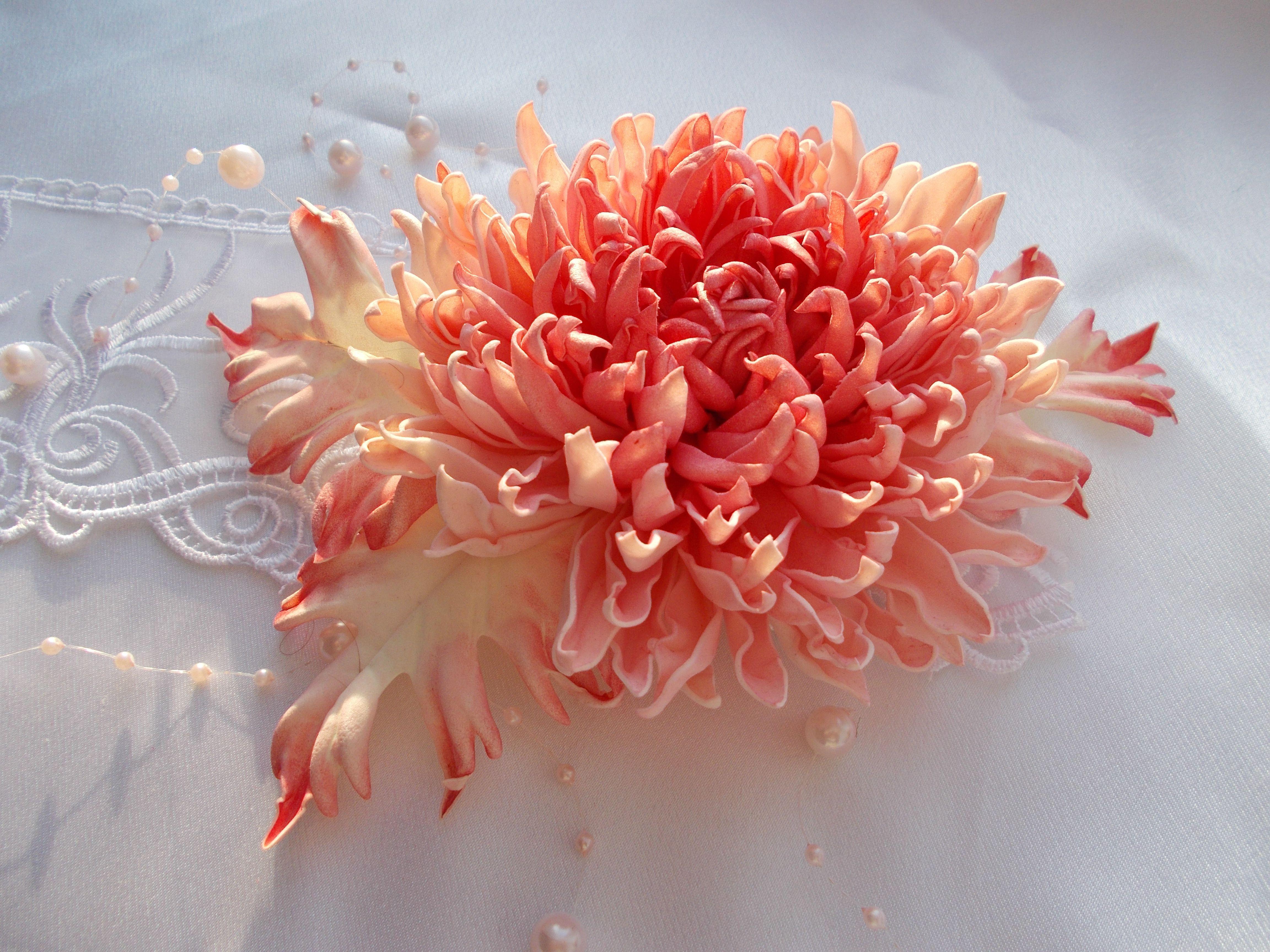 фоамирана цветок хризантема брошь фом фоамиран украшения аксессуар цветы