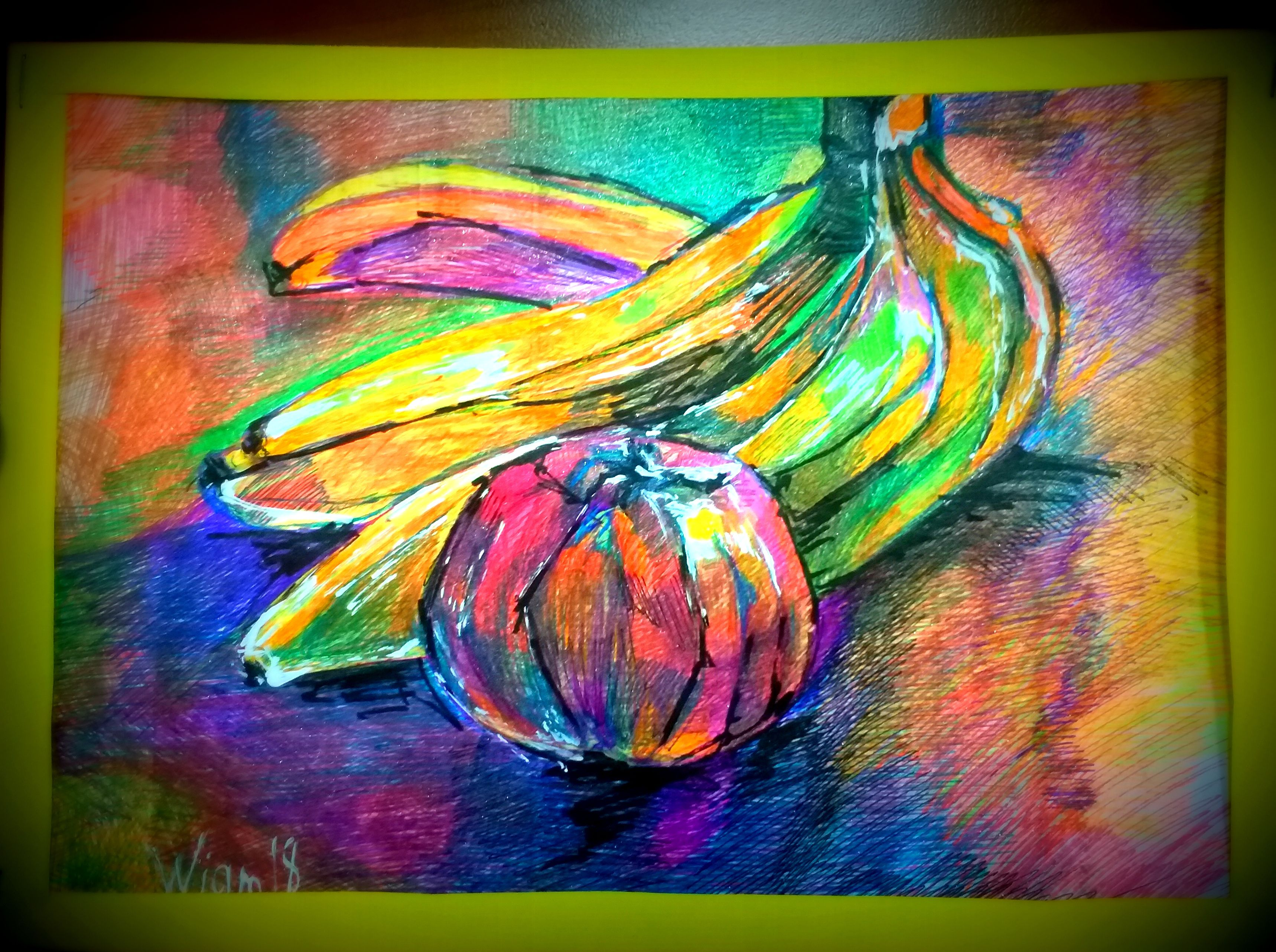бананы картина ручки рисунок гранат фрукты натюрморт гелевые