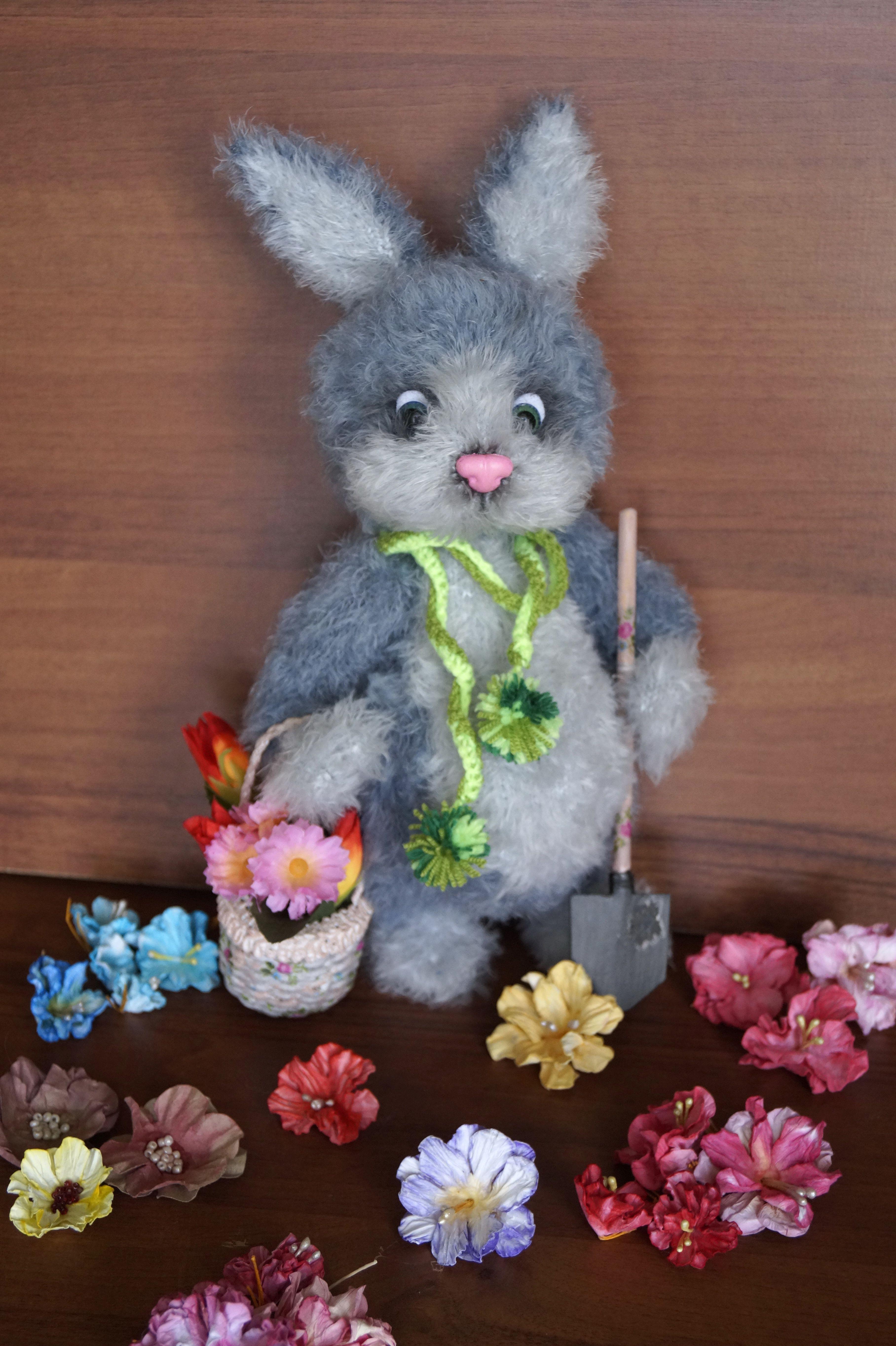 игрушка вязание ручная пушистый интерьер заяц работа подарок
