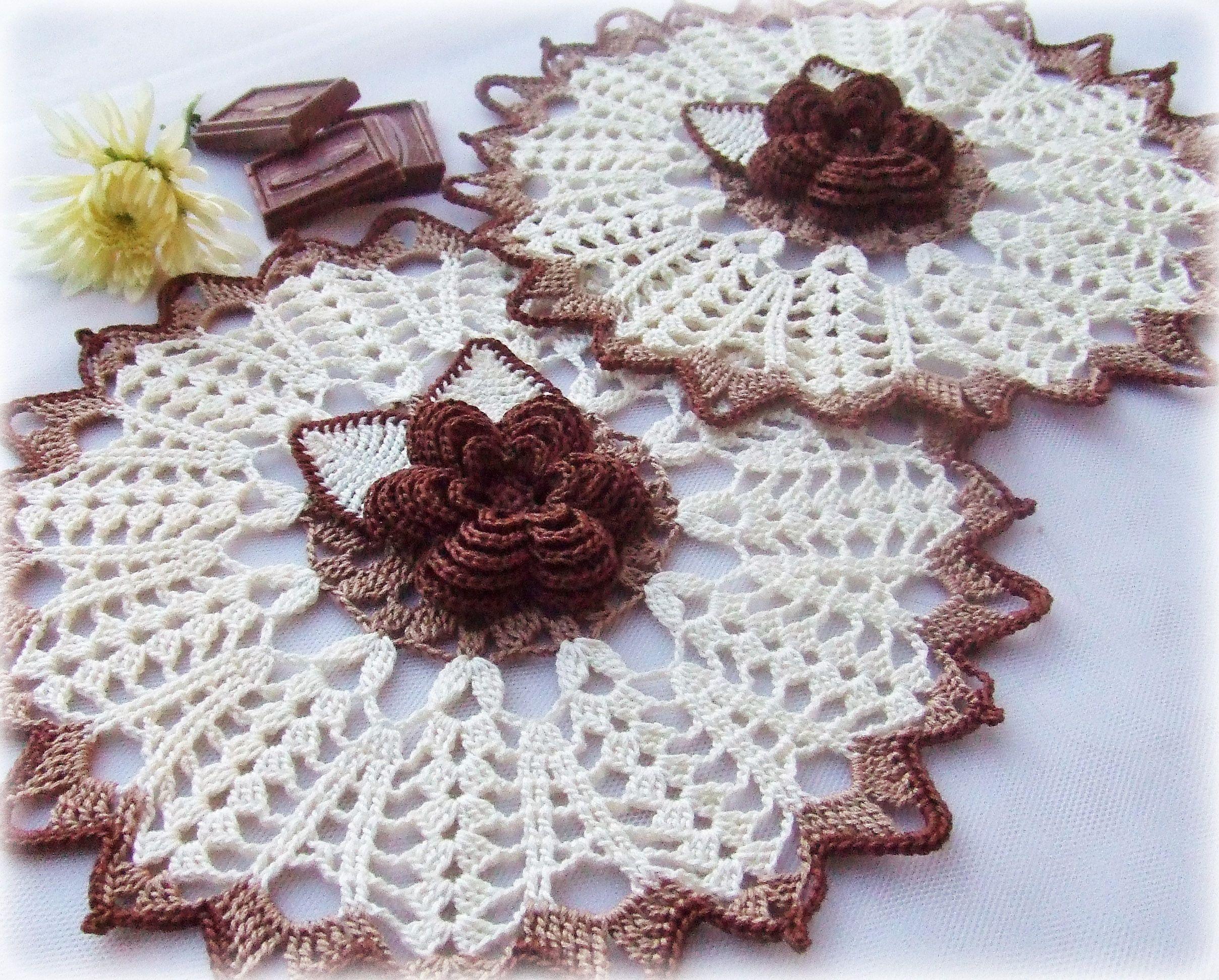 шоколадный салфетка вязание крючком молочный цветы