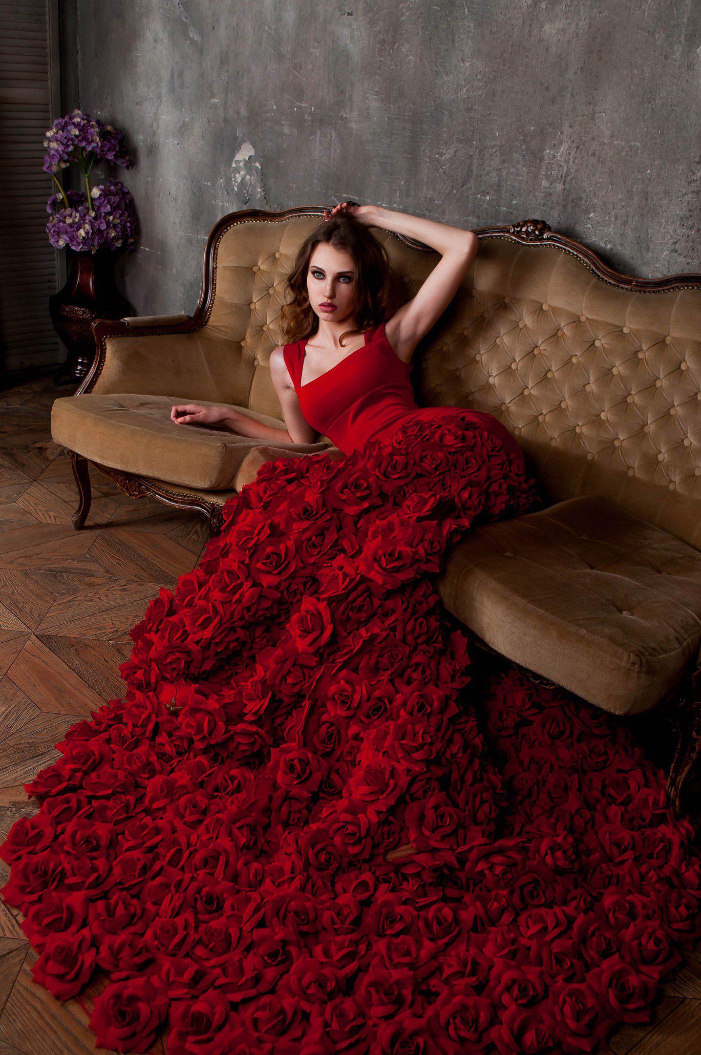 цветы платье красноеплатье платьеизцветов