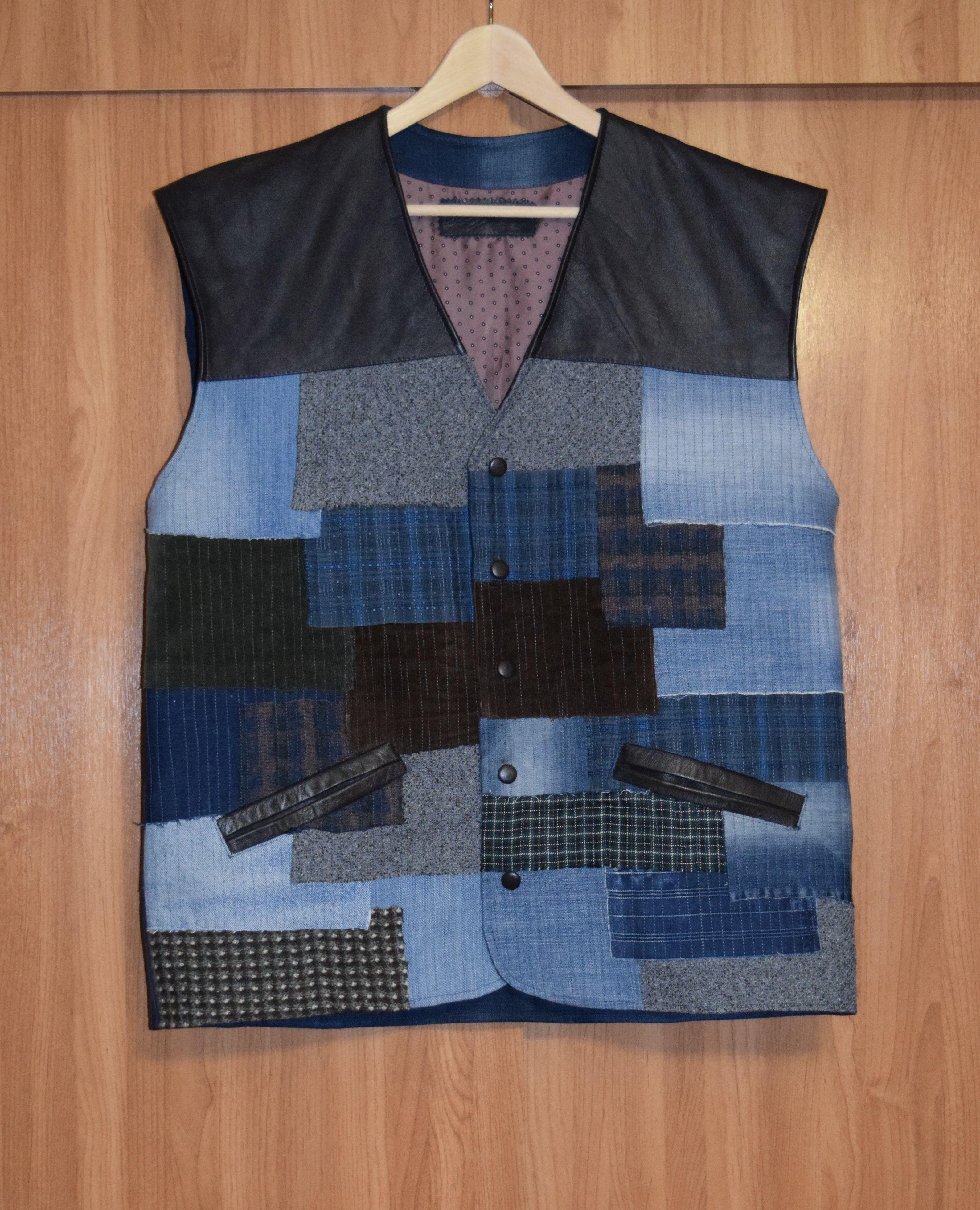 своимируками одежда купить hendmade жилет креатив стиль кэжуал джинс кожа мода мужской