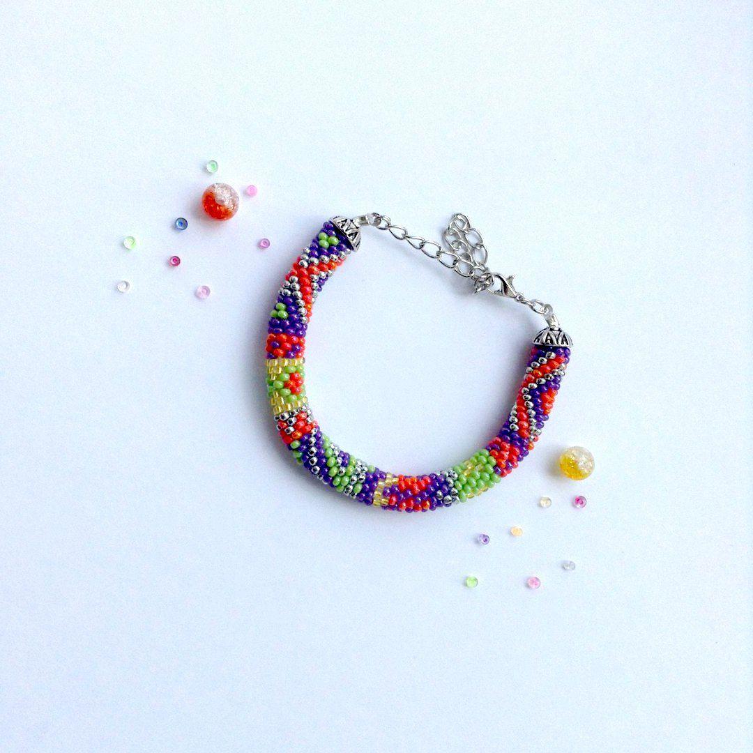 бисер браслет handmade украшения разноцветный крючком бижутерия