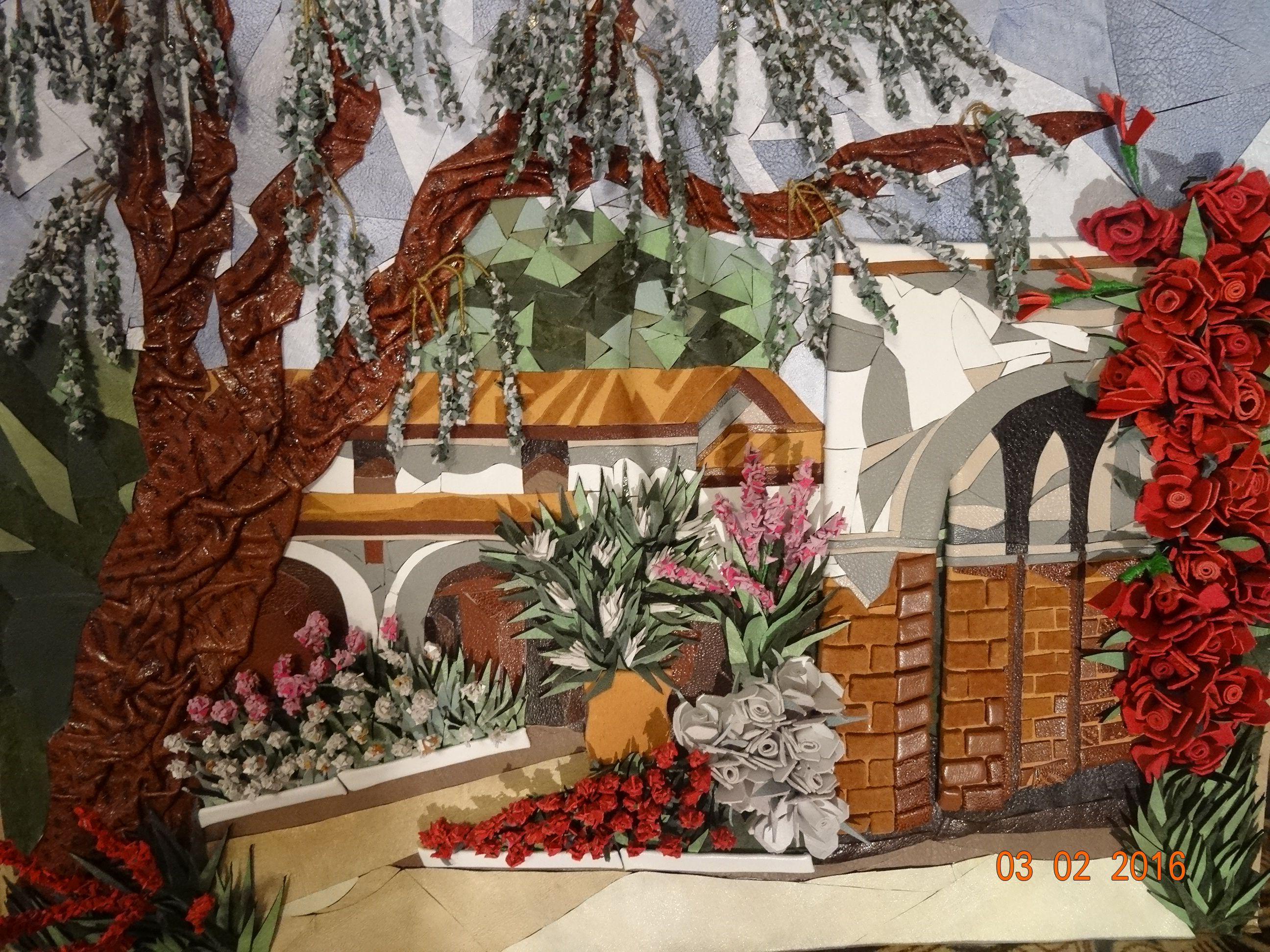 картинаизкожи мозаикаизкожи италия пейзаж дворики