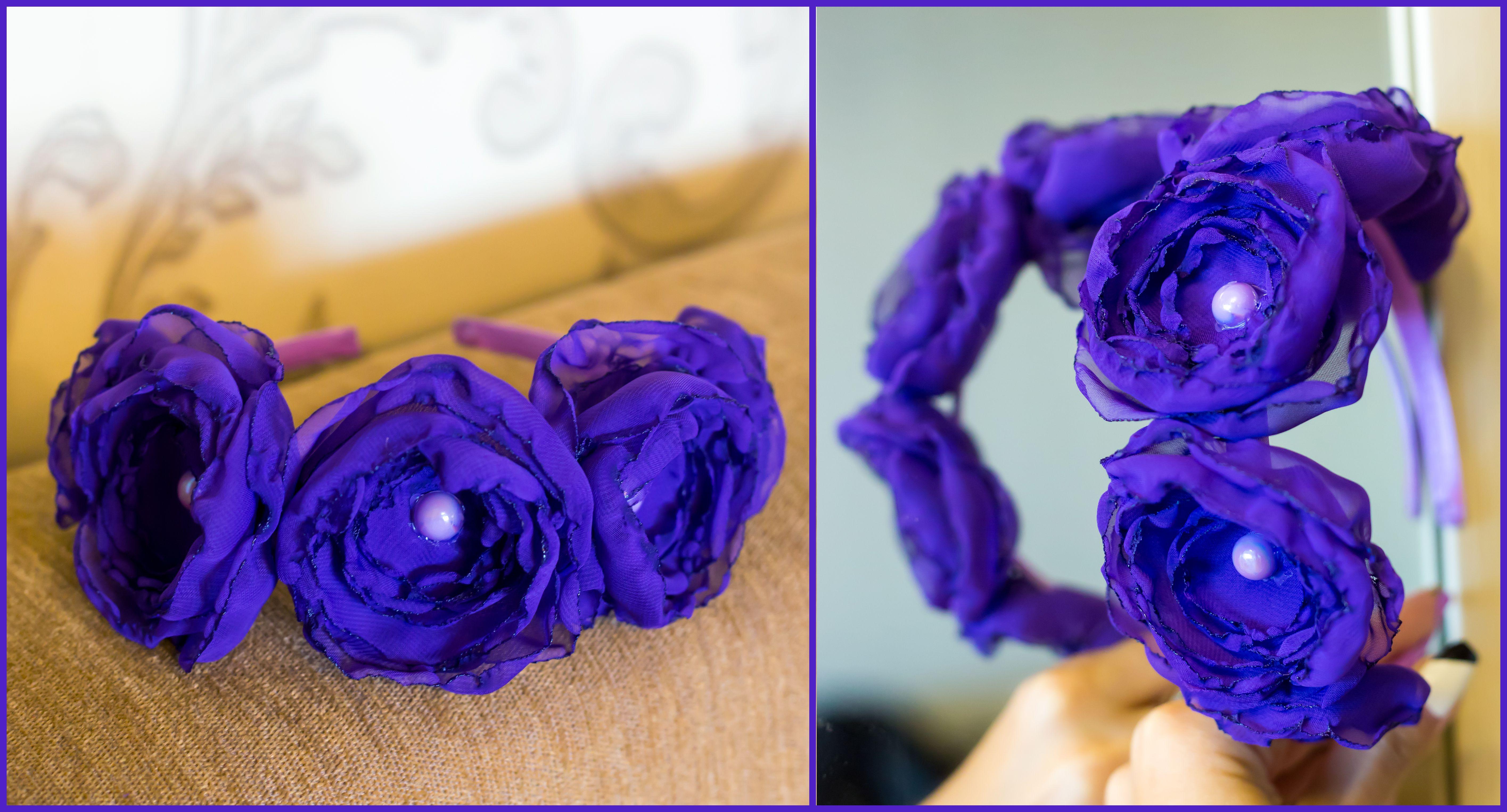 обруч фиолетовый шифон красивый ободок свадебный цветы атлас