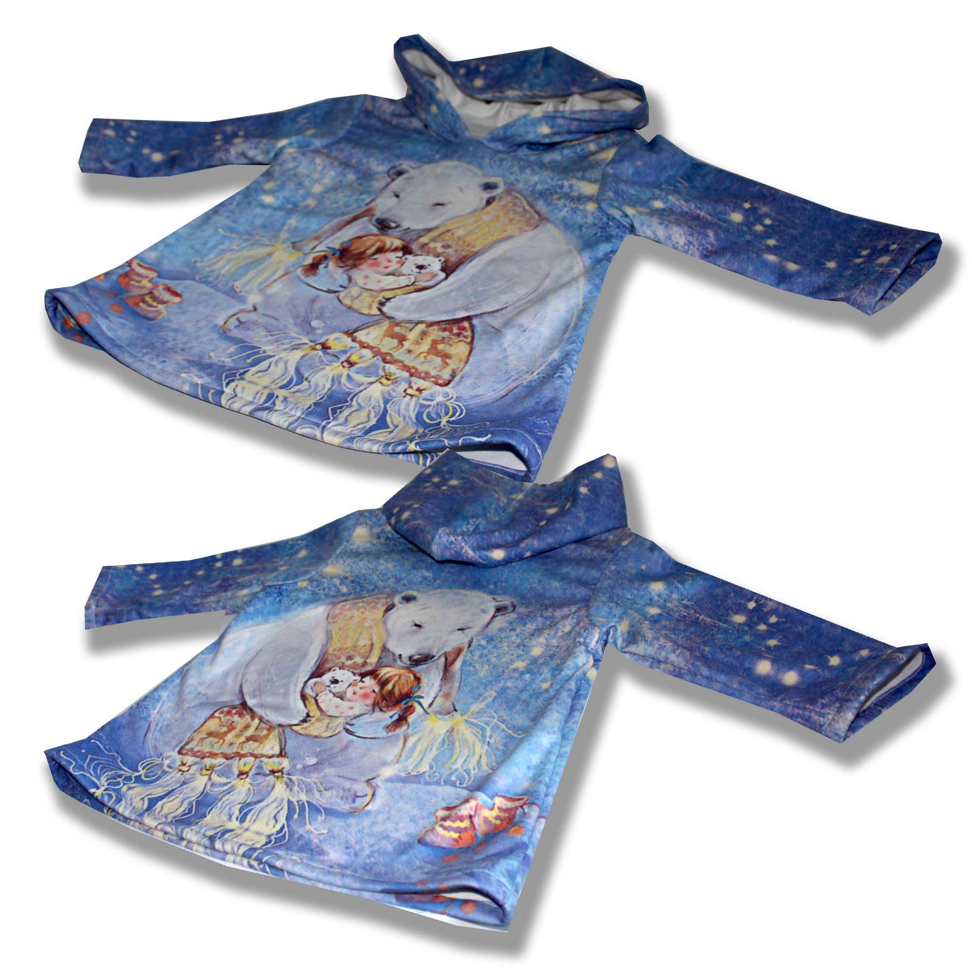 сублимация печать синее принт шарф белый капюшон платье оригинальное удобное звезды девочка медведь голубое