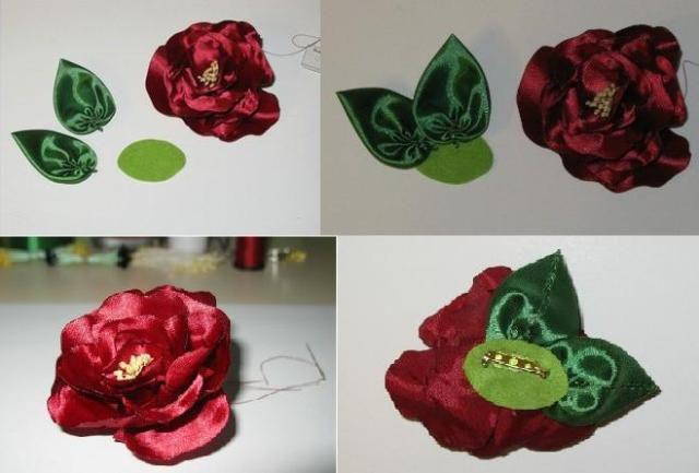 Цветы из атласных лент своими руками 9