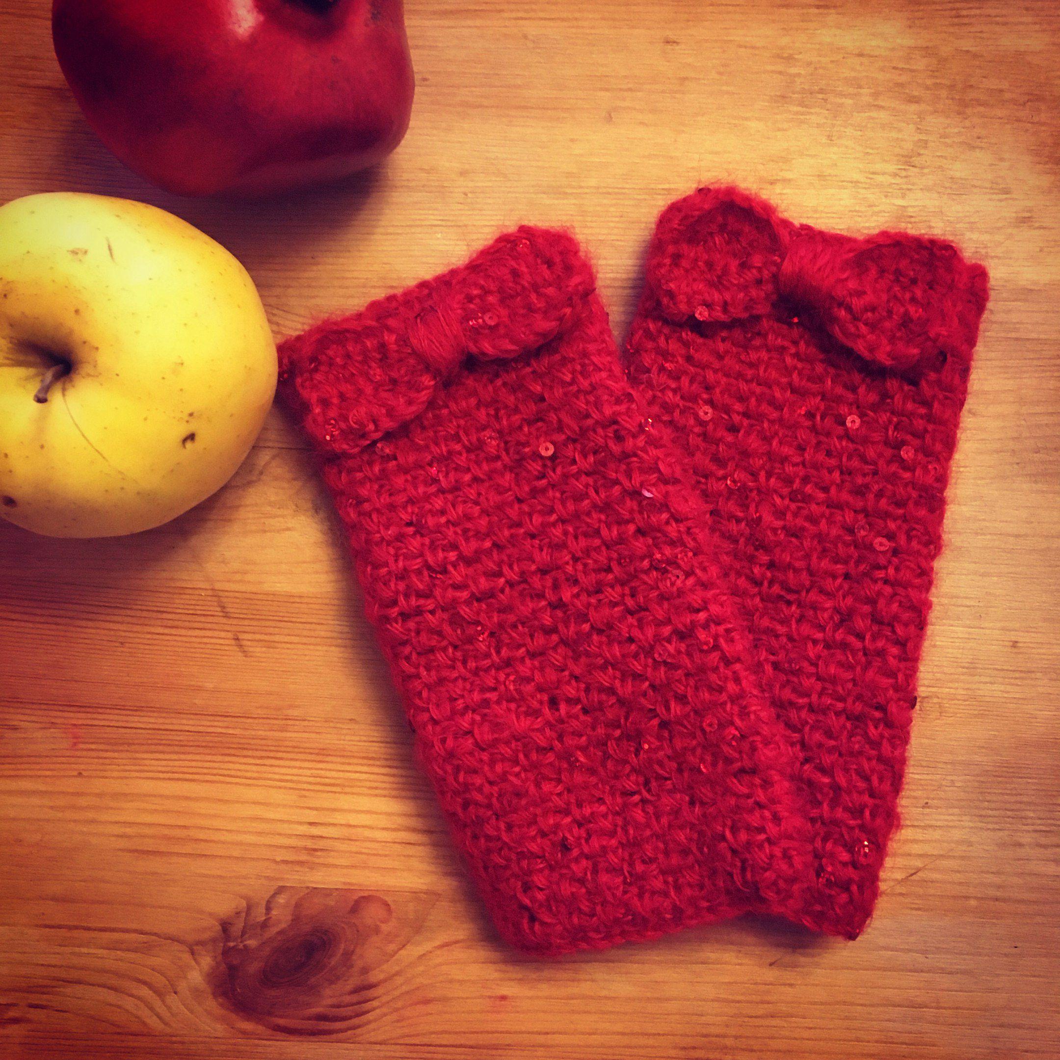 краснодар вязание крючком красный митенки зима бантики