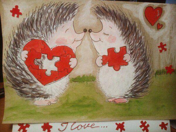 14 февраля длялюбимого открытка ручнаяработа