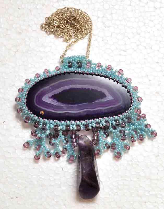 агат ручная украшение аметист. срез натуральный бисероплитение работа камень