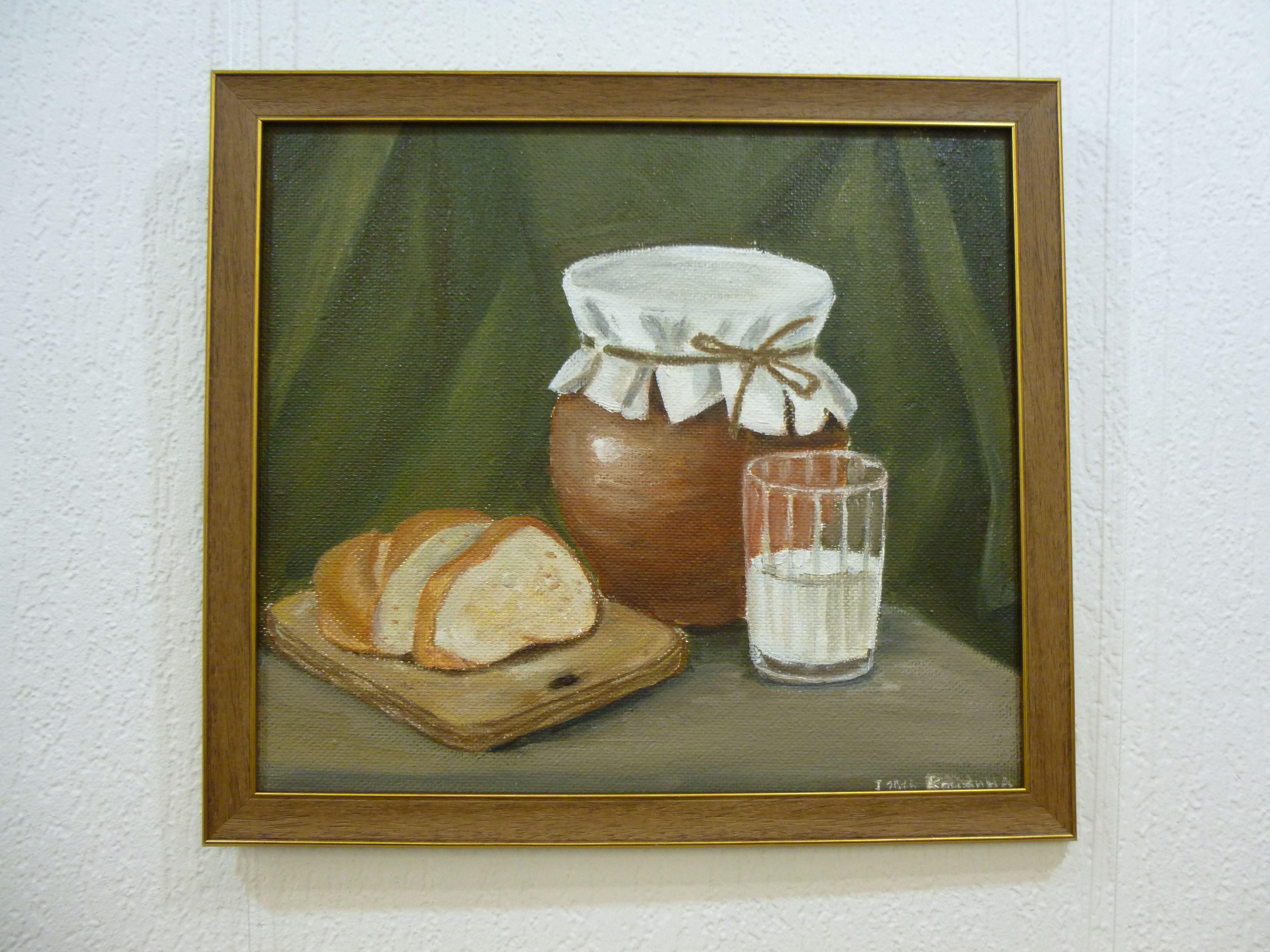 масло оргалит крынка хлеб картинамаслом деревня натюрморт деревенская стакан молоко тема уют