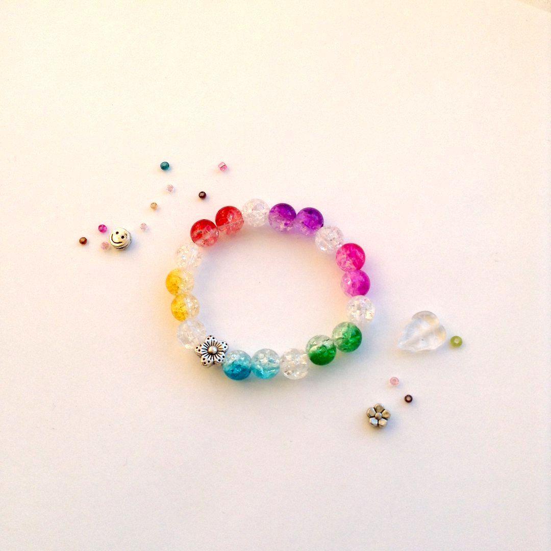 резинке бусины украшения браслет handmade бижутерия детский на цветок