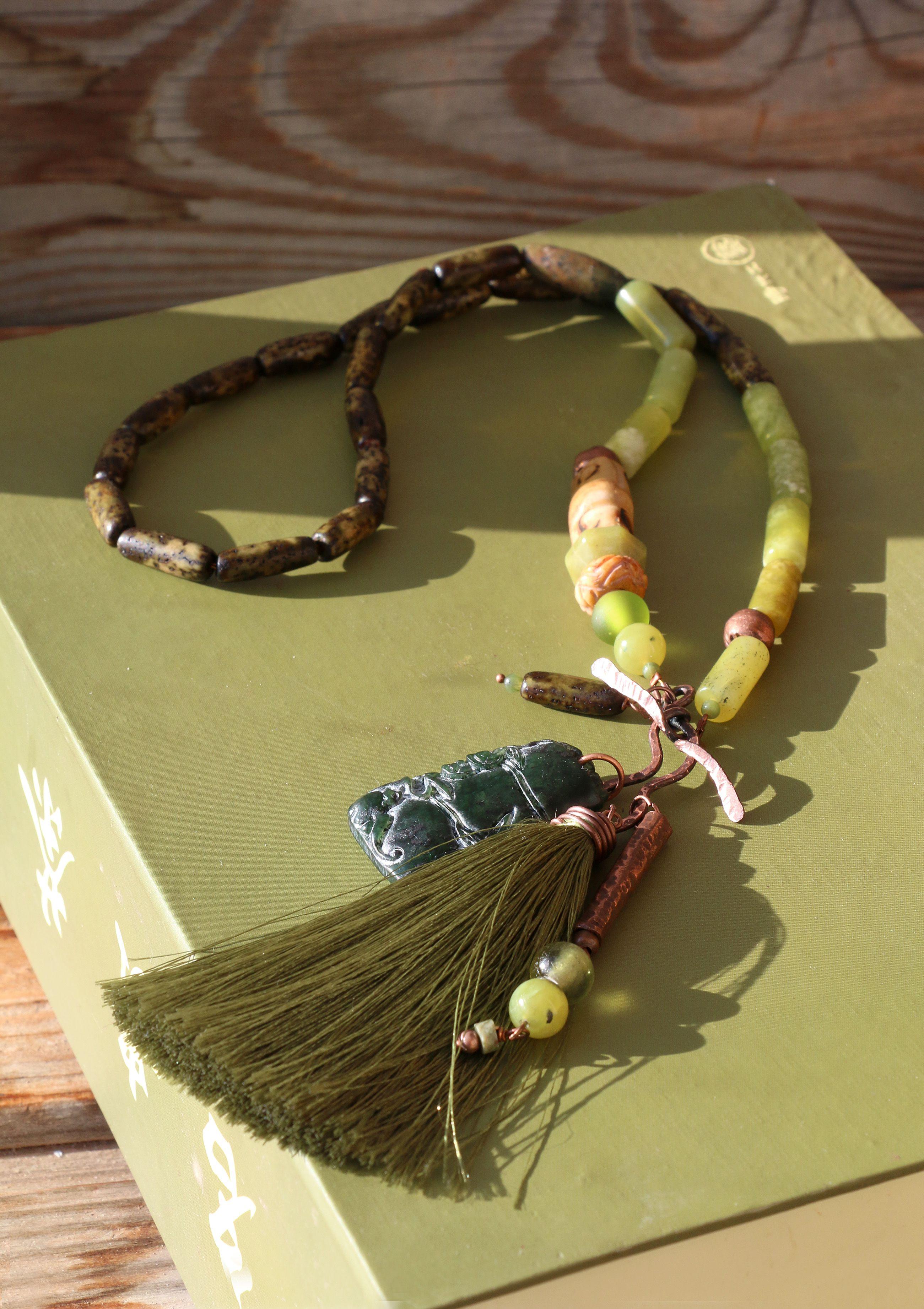 темно зеленый этнический бохо оливковый кисть шинуазри бамбук натуральные фисташковый