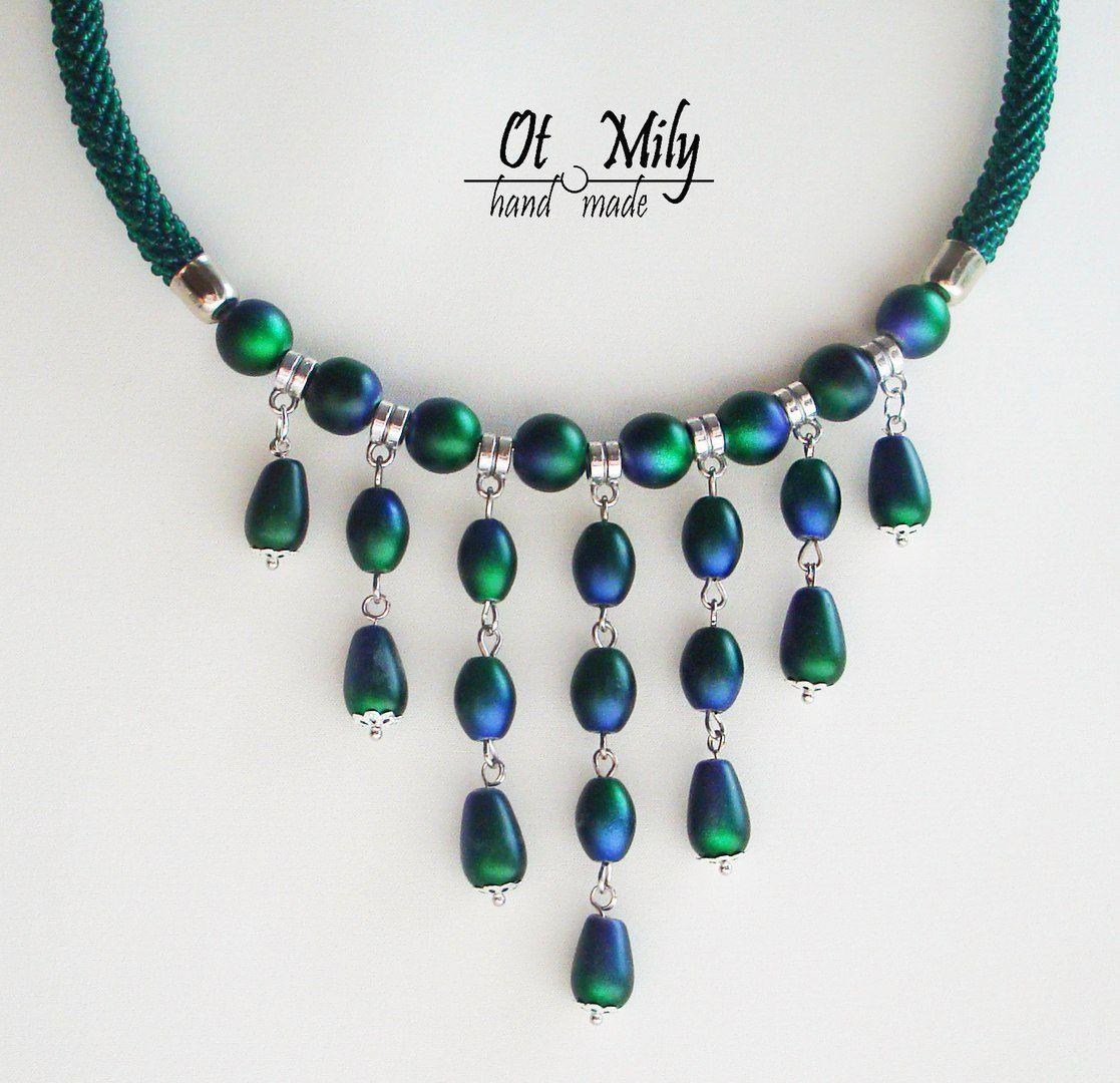 ожерелье вязаный бусы жгут бисер украшение шею колье девушке