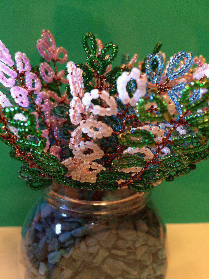 интерьера handmadeбисерцветыизбисераукрашение