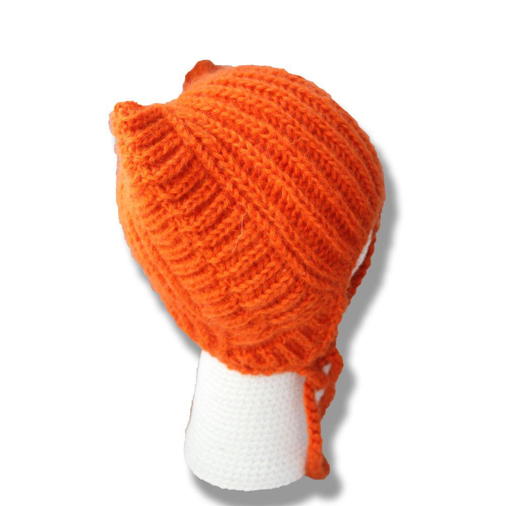 креативная кошка связанное ушки ушастая купить шапочка детям аксессуары рыжая для ручная оригинальная работа шапки спицами удобная теплая детские оранжевая продажа девочки прикольная яркие