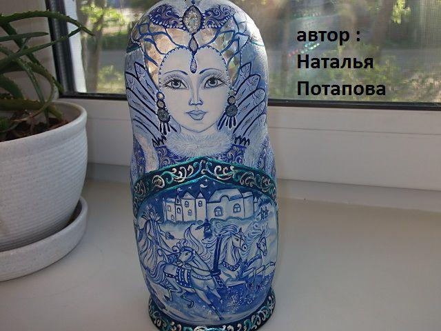 поталь авторская русская липа работа ручная акрил сувенир блестки матрешка дерево эксклюзивная