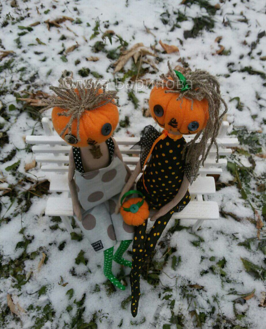 пара подарок прикол праздник хеллоуин тыква куклы необычное руками своими