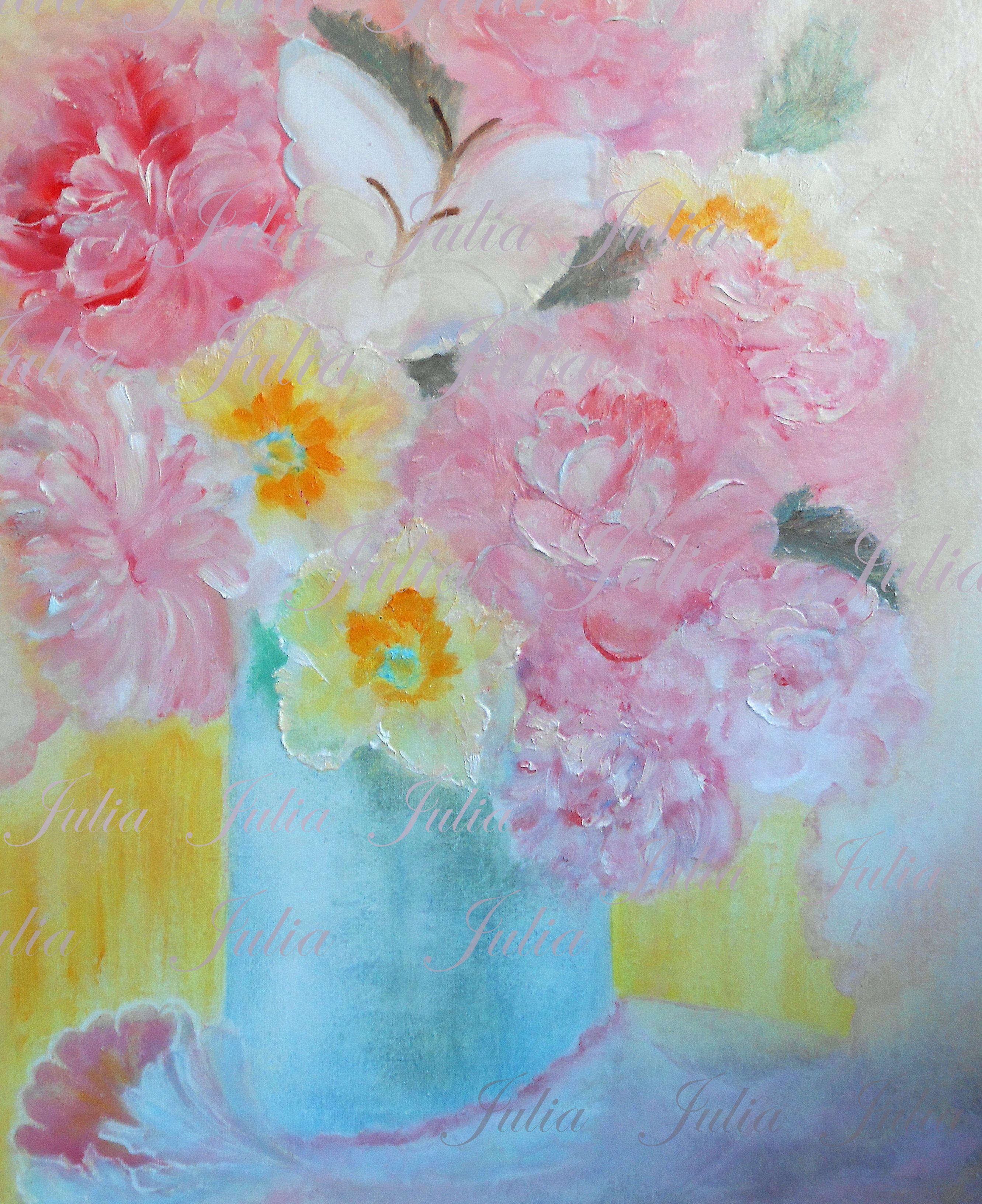 картина масло работа свет розовый ручная живопись бабочки цветы