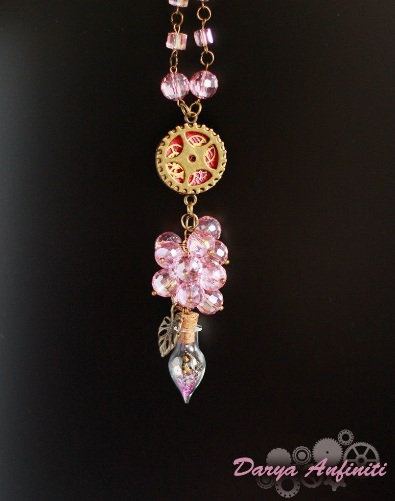 колье кулон розовый стимпанк бутылочка ручная хэндмейд подвеска подарок хендмейд шестеренки steampunk стекло