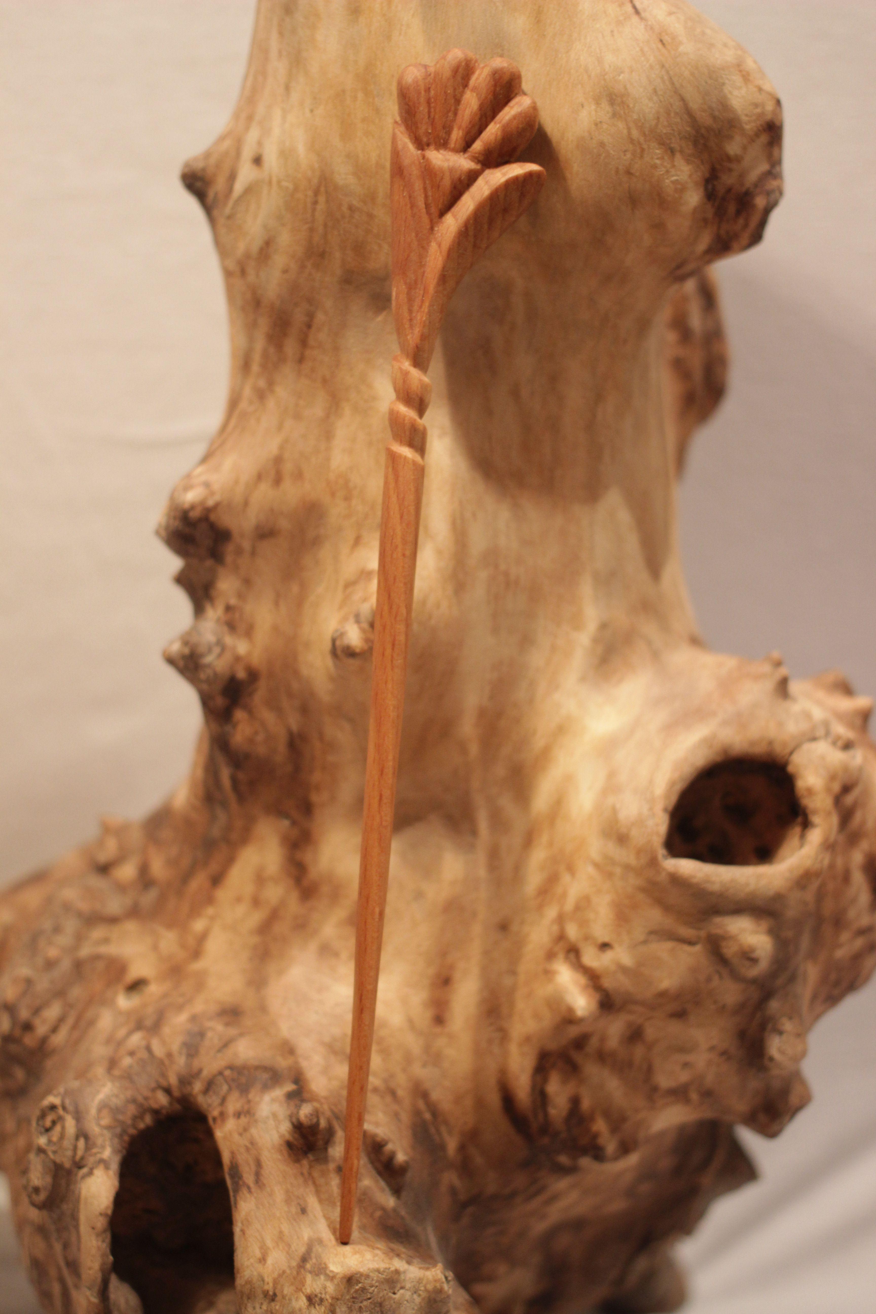 резьба женщине подарок заколка шпилька украшение волосы дерево девушке