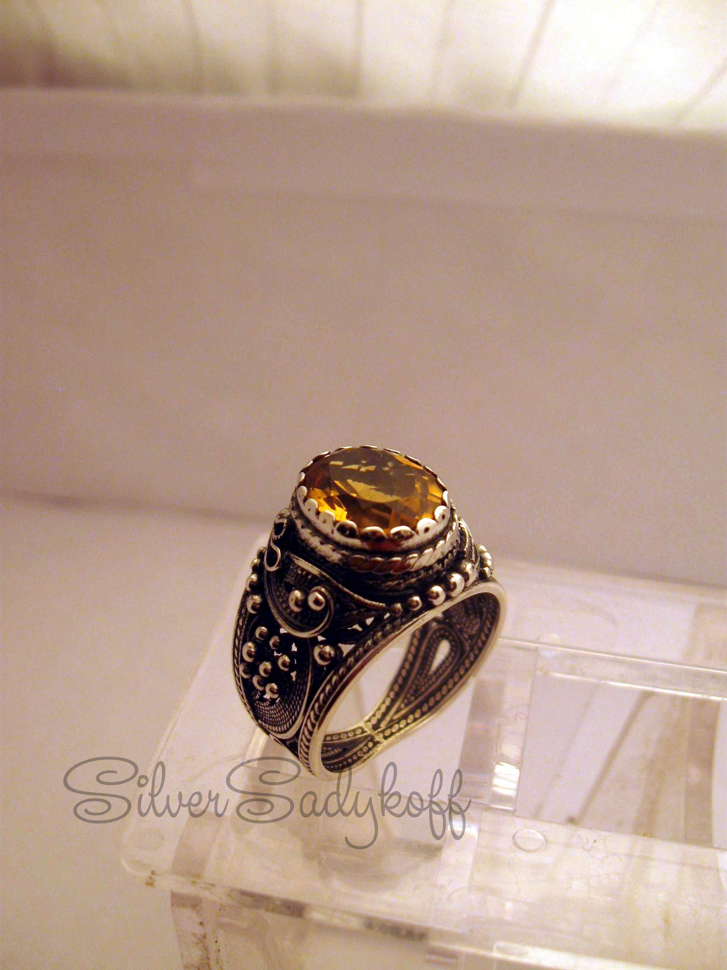 филигрань с сереброручная перстень цитрином работа