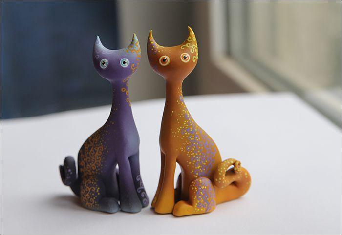 коты фиолетовый кошки кот оранжевый