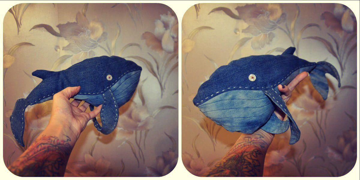 кит bogiboo handmade морскойжитель игрушка море рыба сувенир джинсовый ручнаяработа подарок