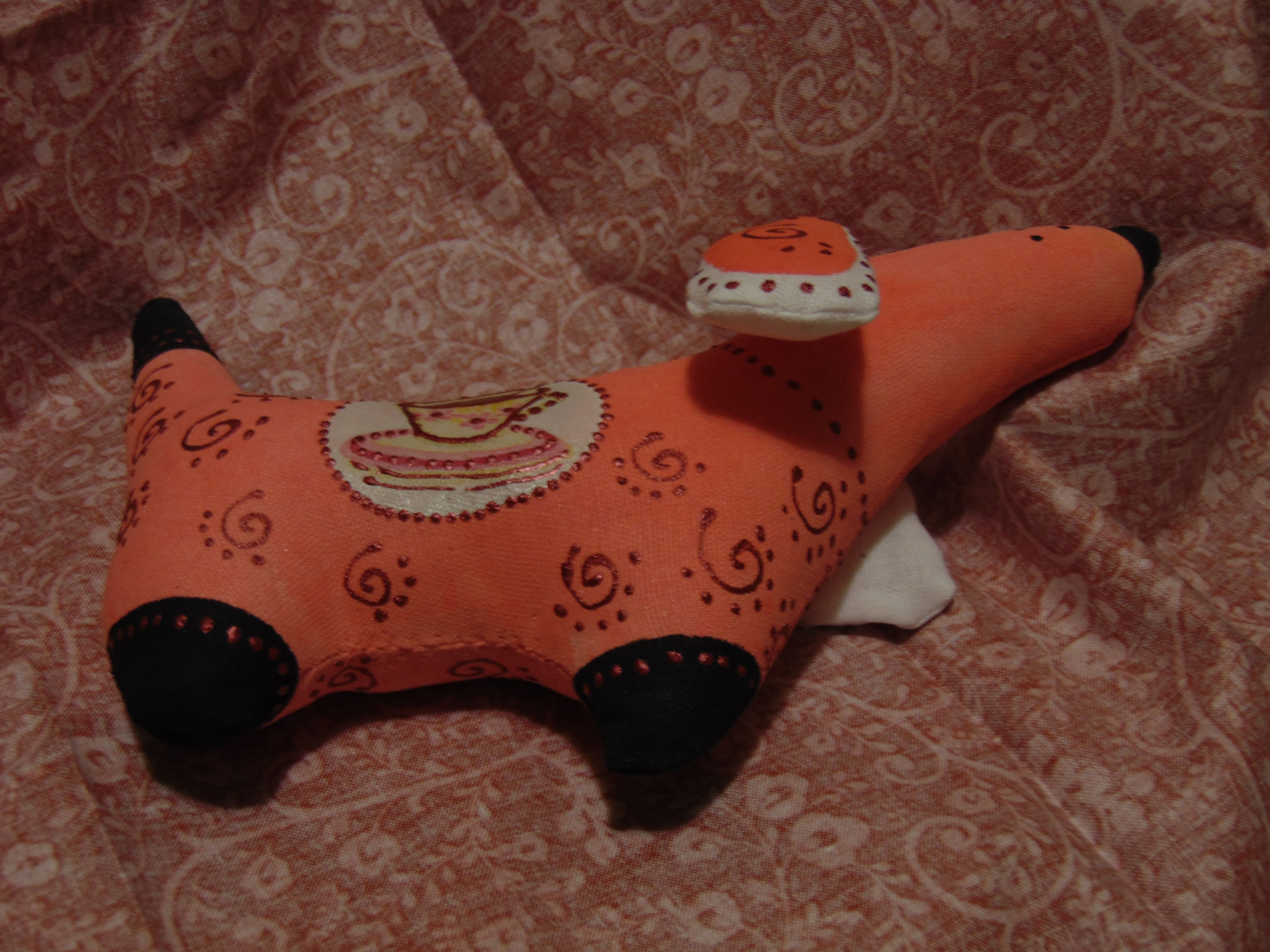 таксаручная игрушка handmadeрыжаяподарок работатекстильная