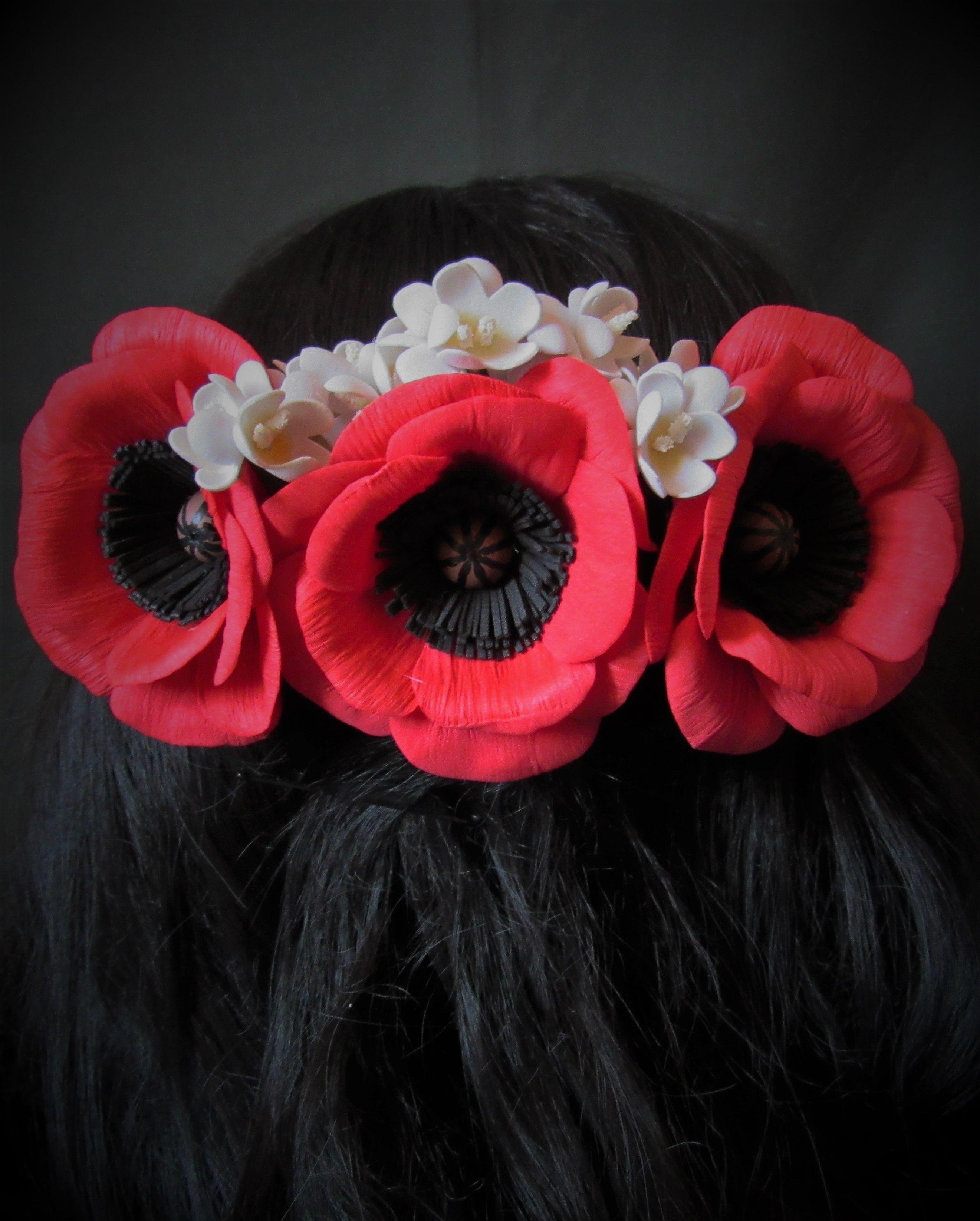 маки фоамирана из гребень цветы