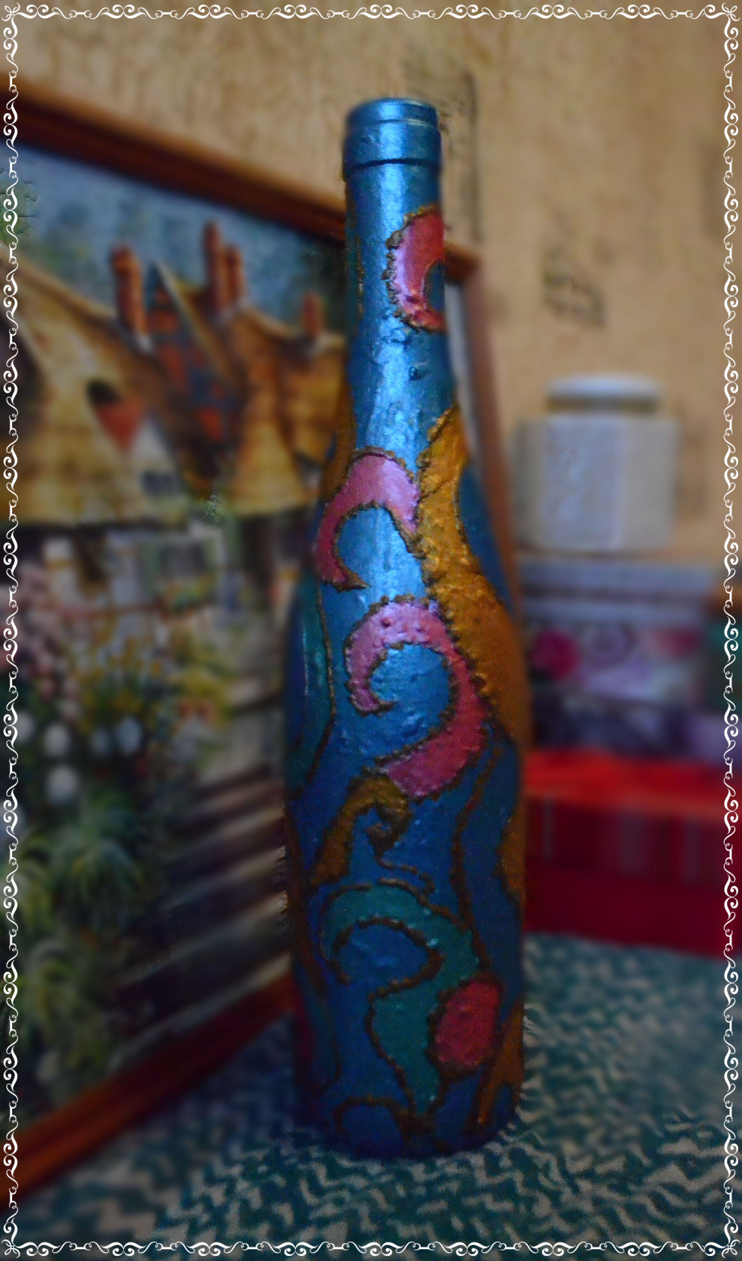 подруге тёмносиний жене декор случай бутылка на ваза роспись декоративная подарок девушке маме марта 8 любой