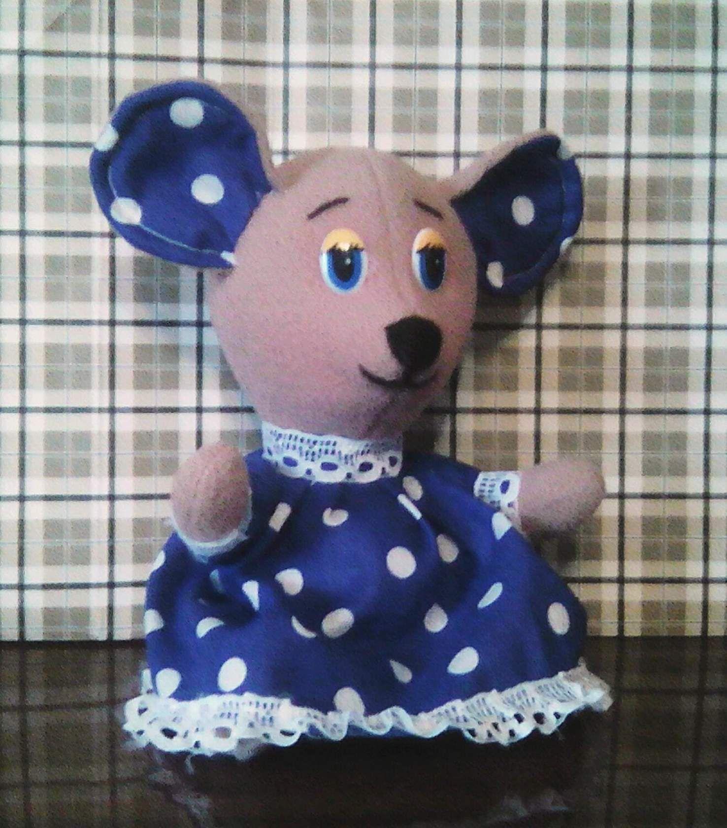 ручнаяработа игрушка флис длядетей мышка горошек нежность