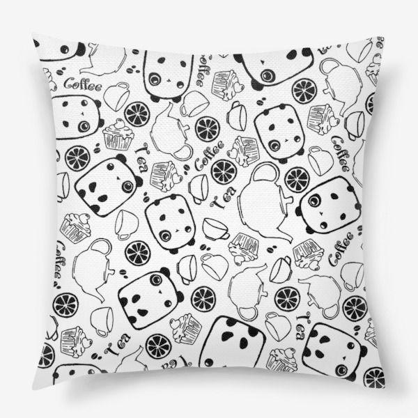 паттерн панды кексик подушка животные интерьер сладости чернобелое