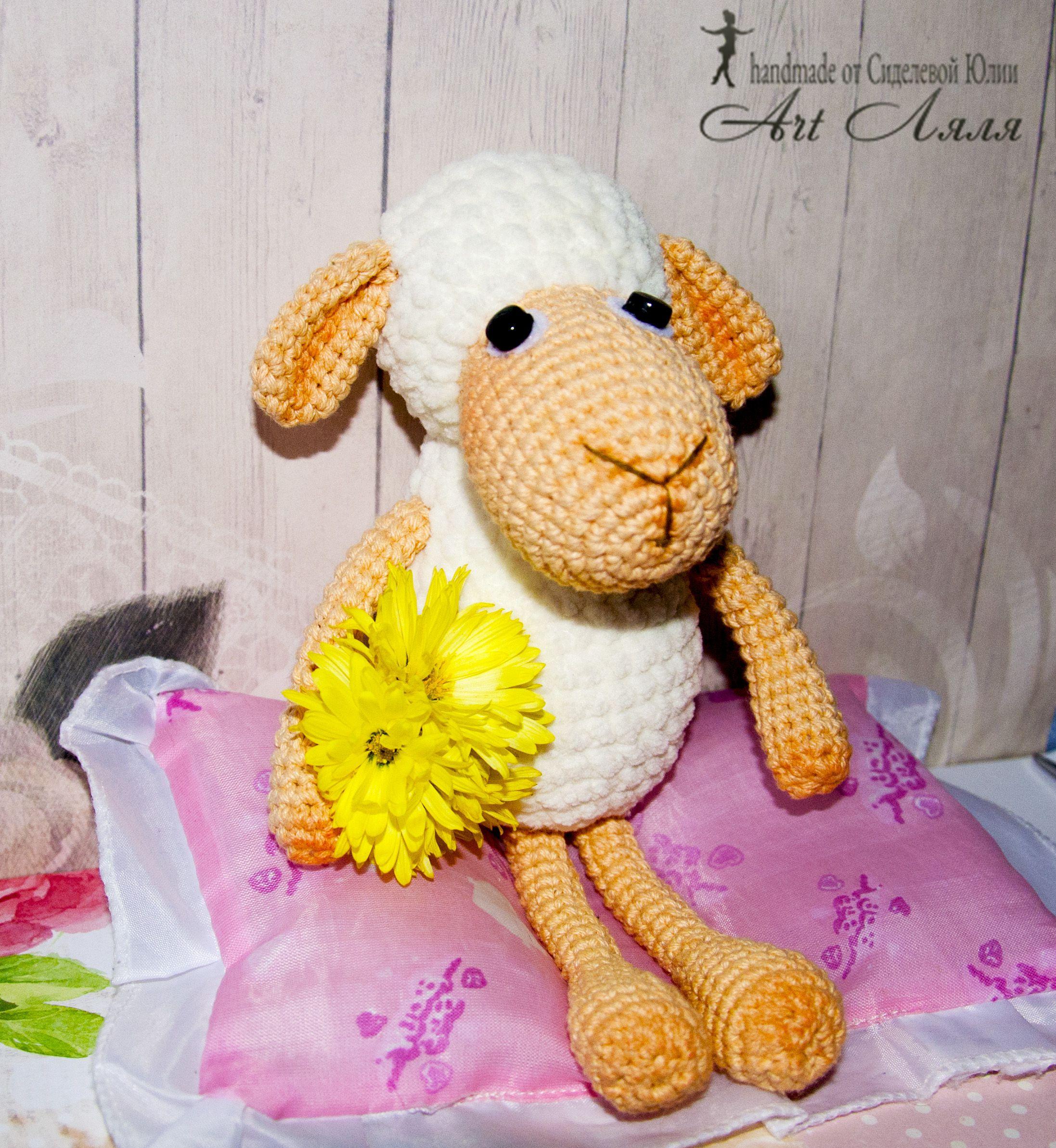 крючком игрушка овечка мягкая