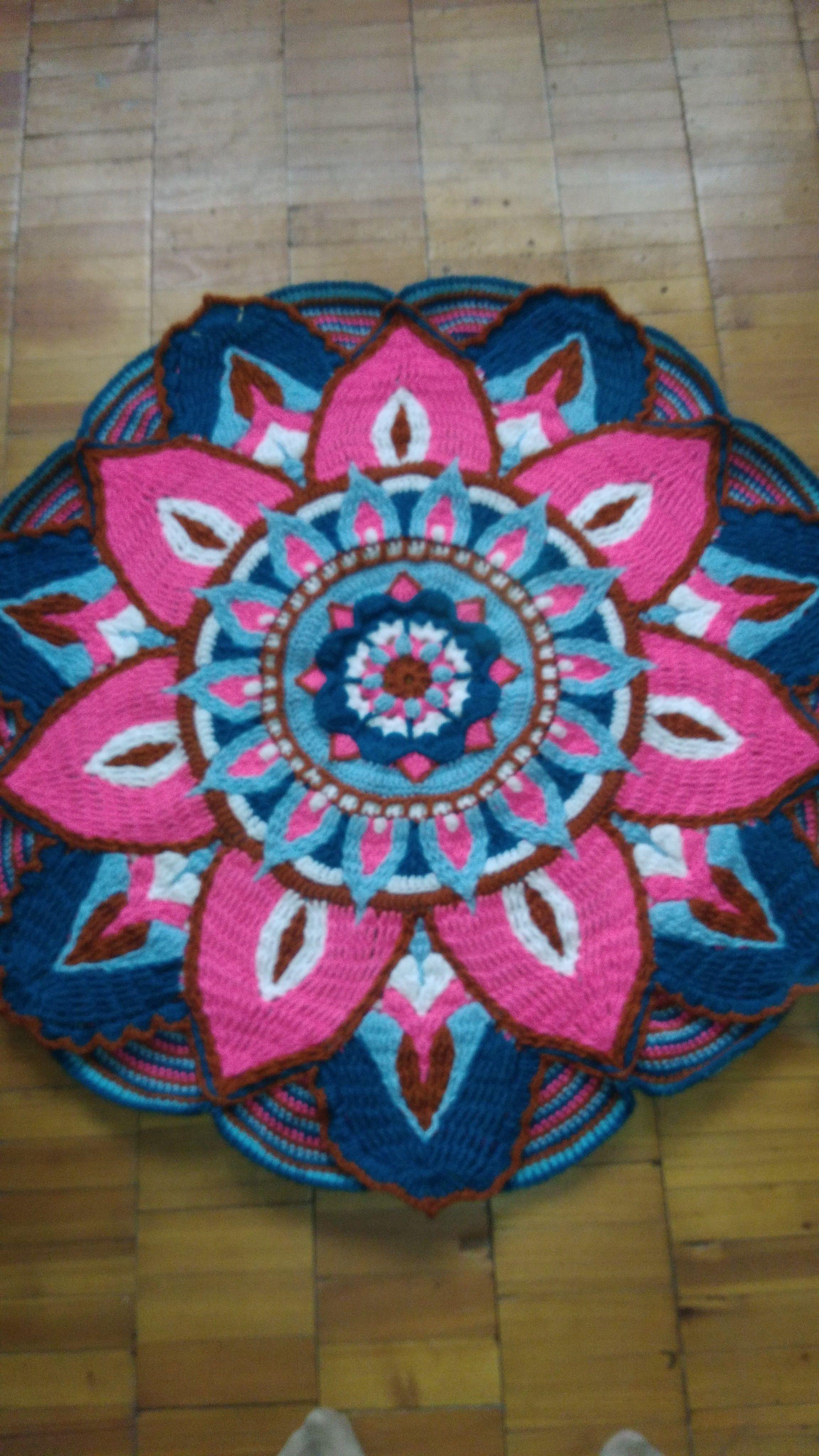 крючком прикроватный коврик вязание